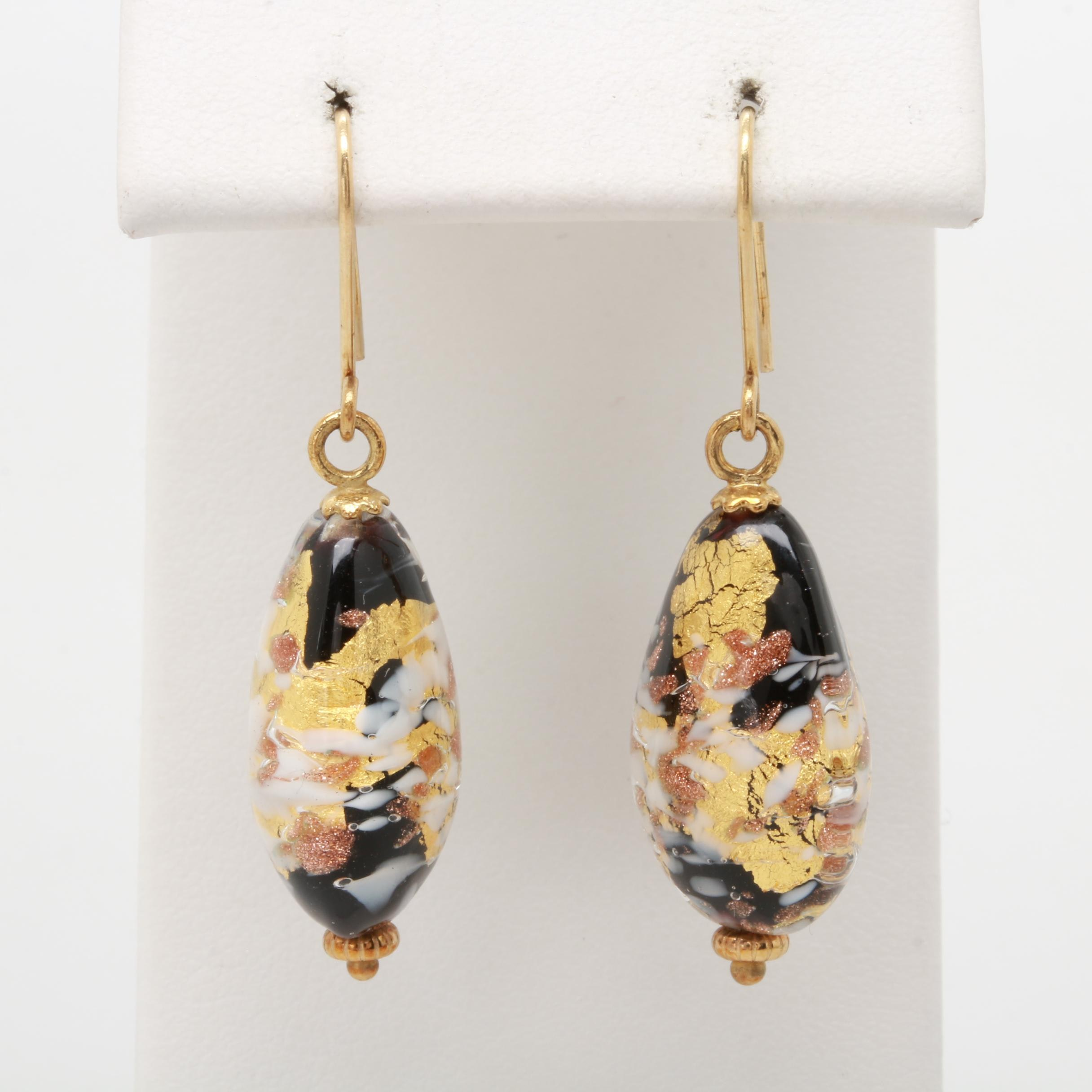 9K Yellow Gold Glass Bead Dangle Earrings