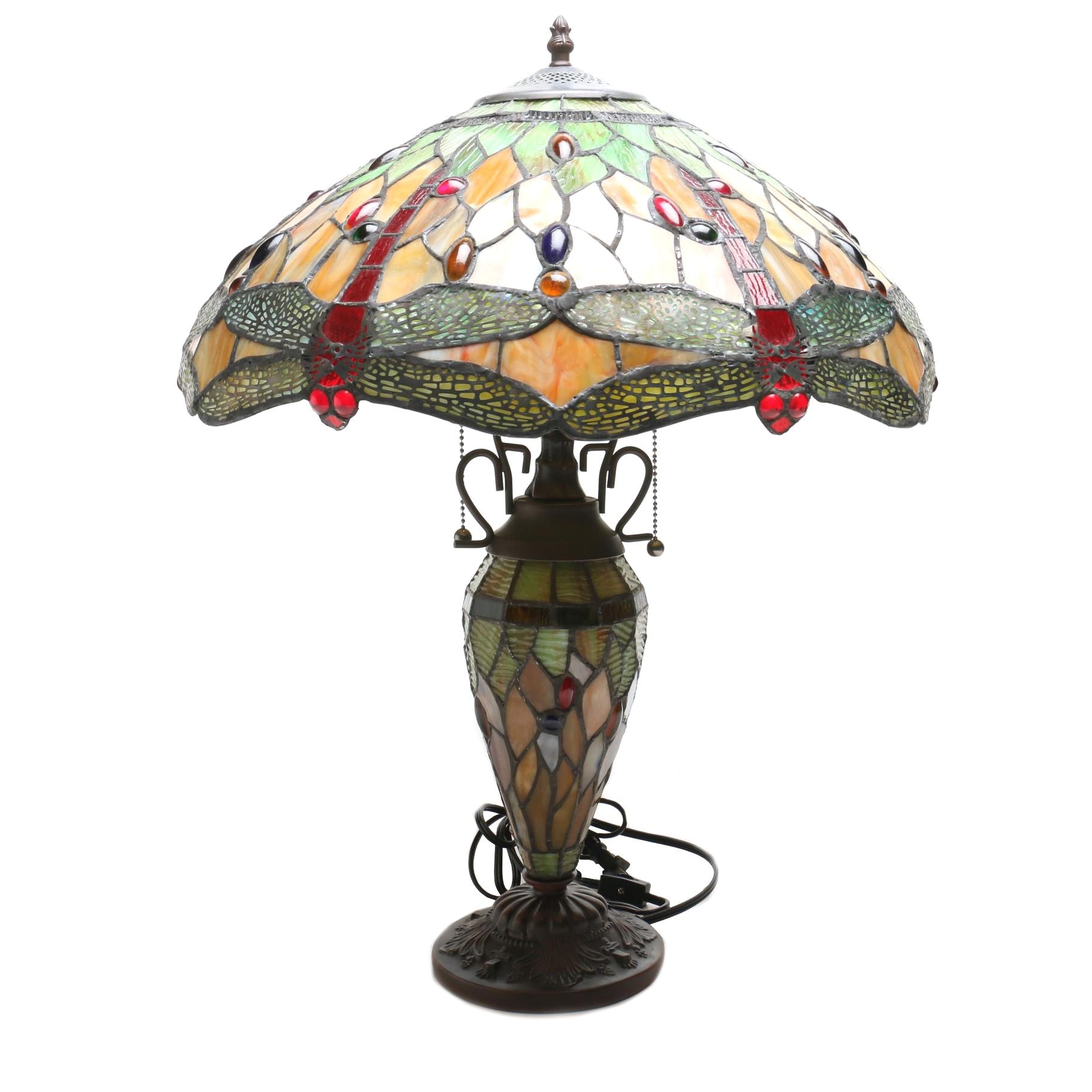 Stain Glass Table Lamp with Dragonfly Motif