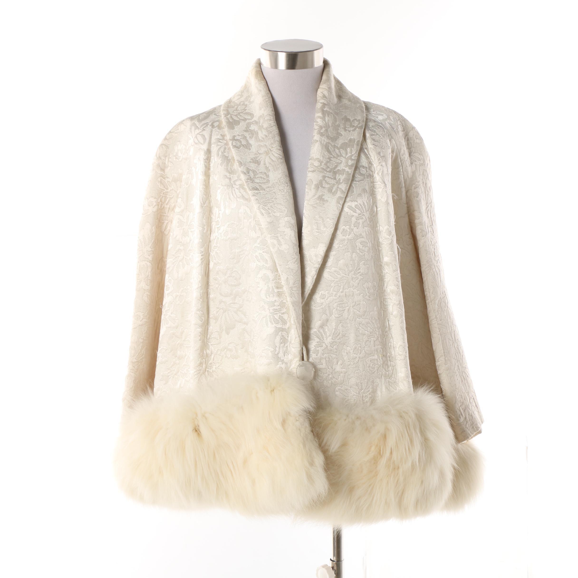 Vintage Brocade Swing Jacket with Arctic Fox Fur Trim