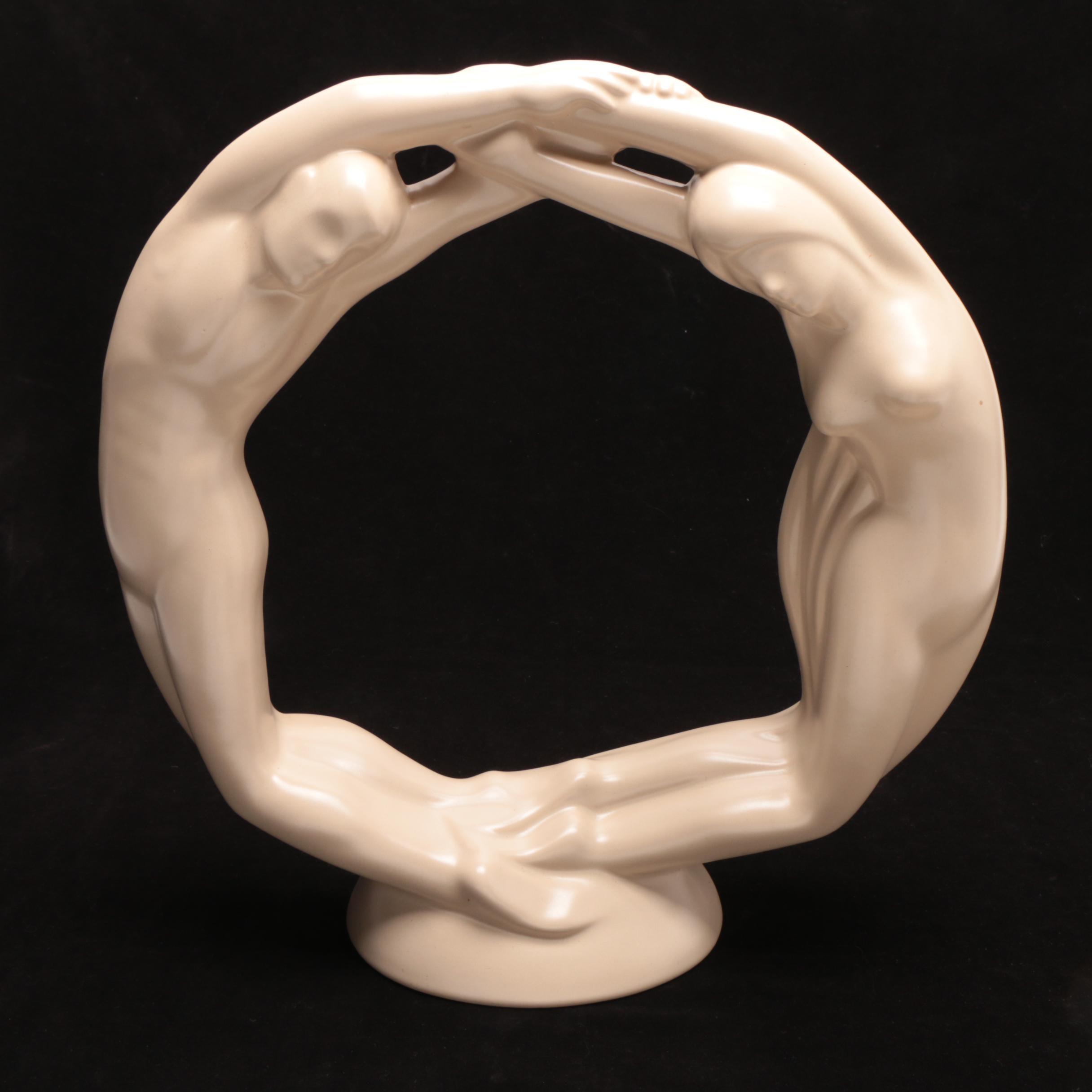 "Art Deco Style Haeger Pottery ""Eternity Circle of Love"""