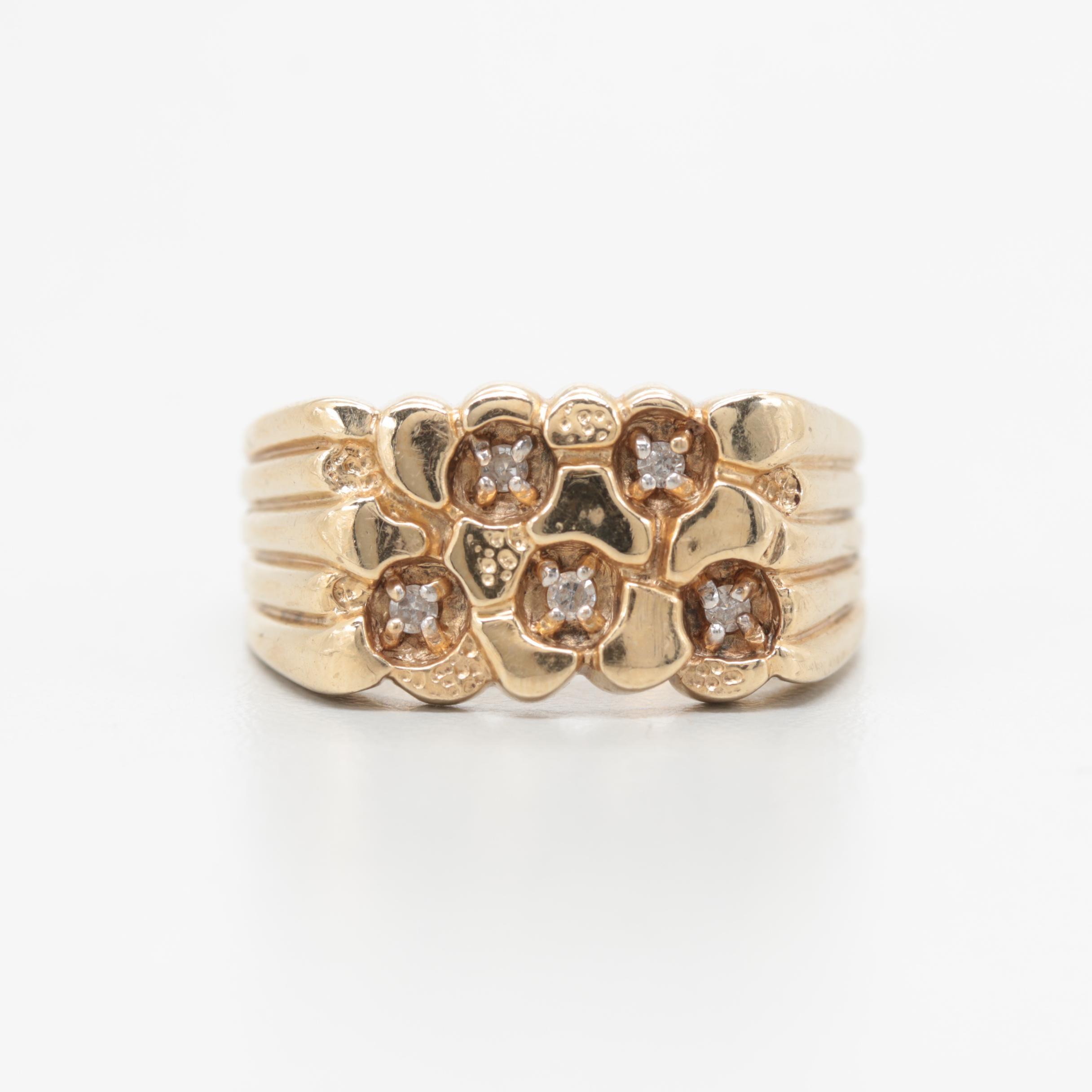 10K Yellow Gold Diamond Nugget Ring