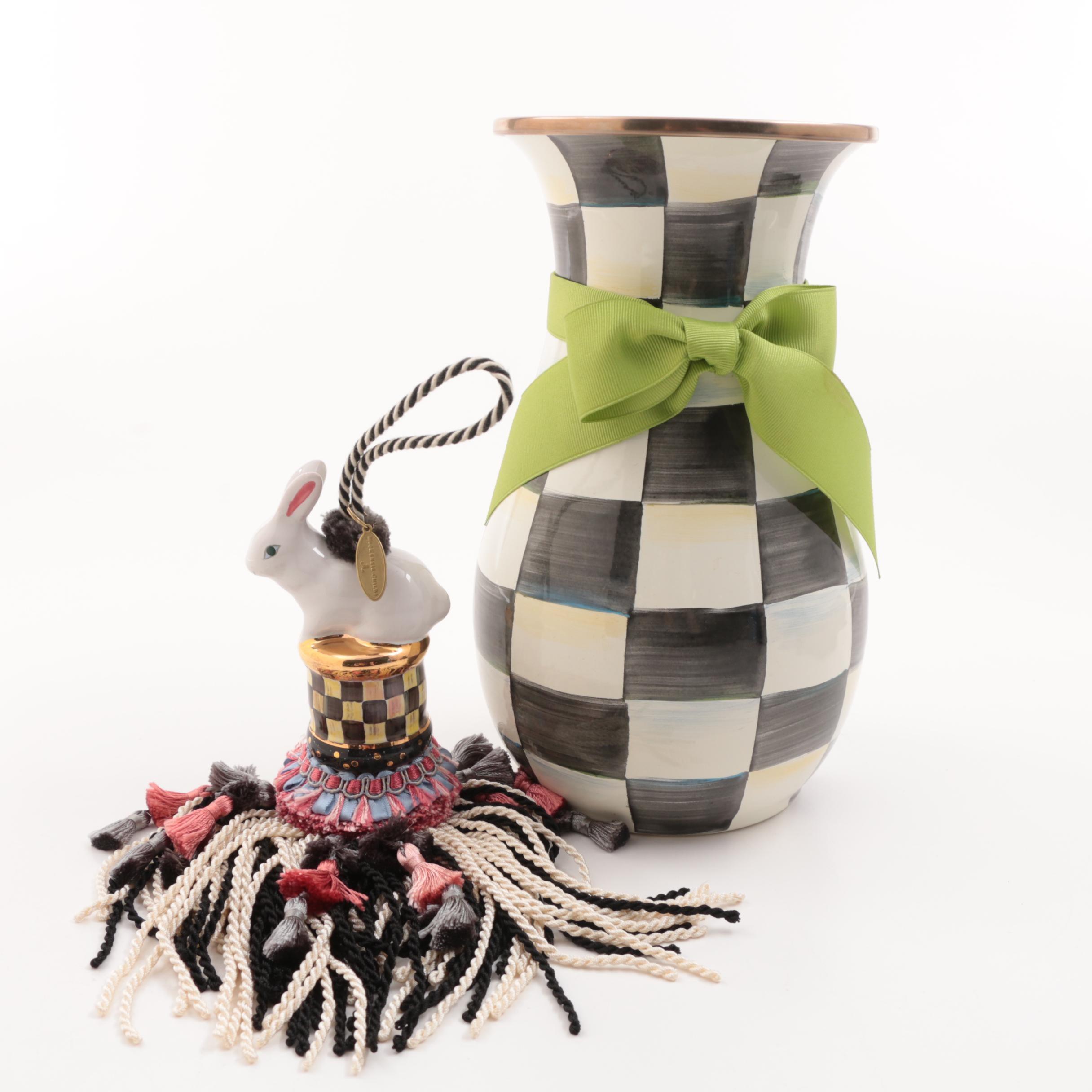 "MacKenzie Childs ""Courtly Checks"" Enamelware Vase and  Bunny Tassel"
