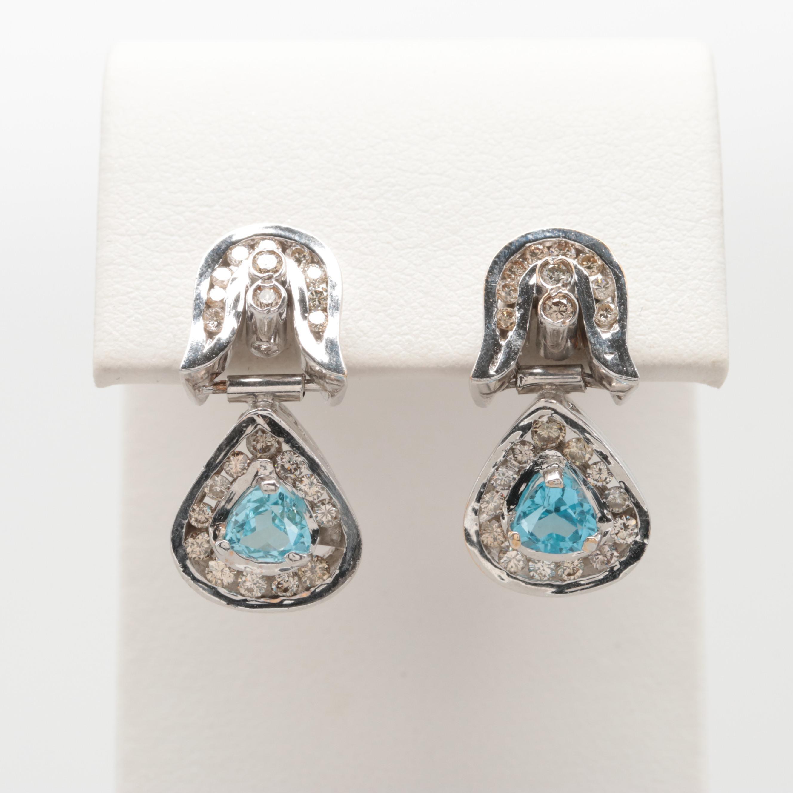 18K White Gold Blue Topaz and 1.15 CTW Diamond Earrings