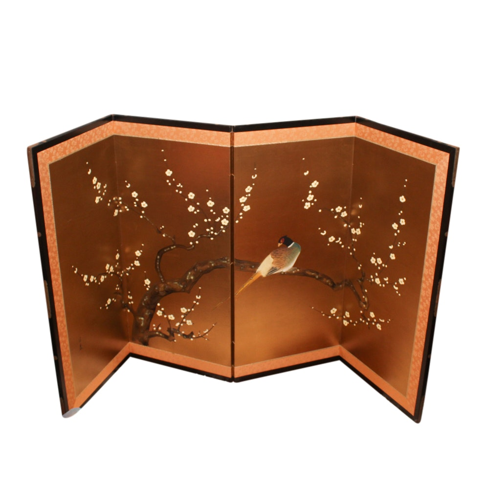 Japanese Hand-Painted Folding Screen