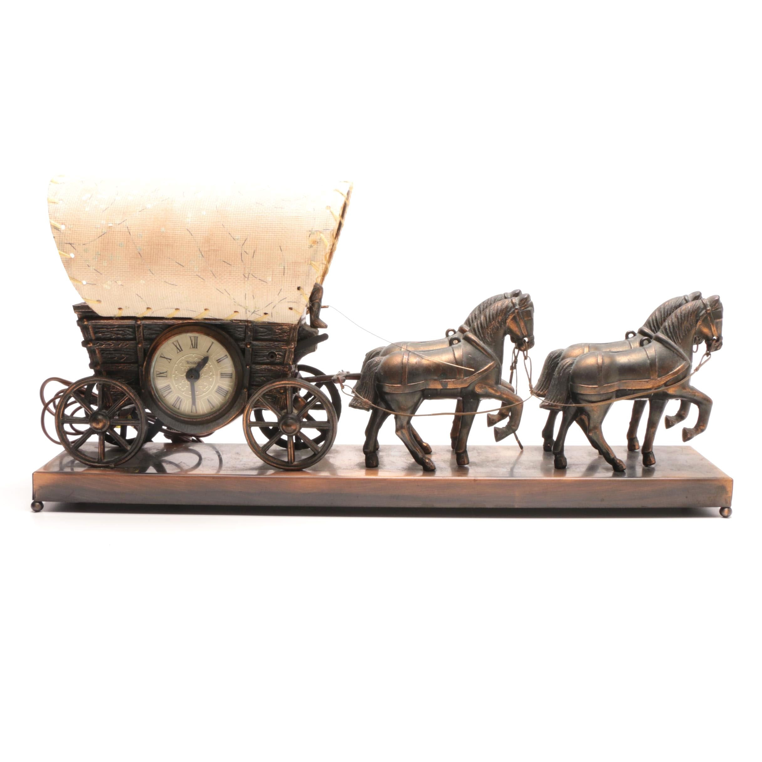Horse Pulled Covered Wagon Clock with Light