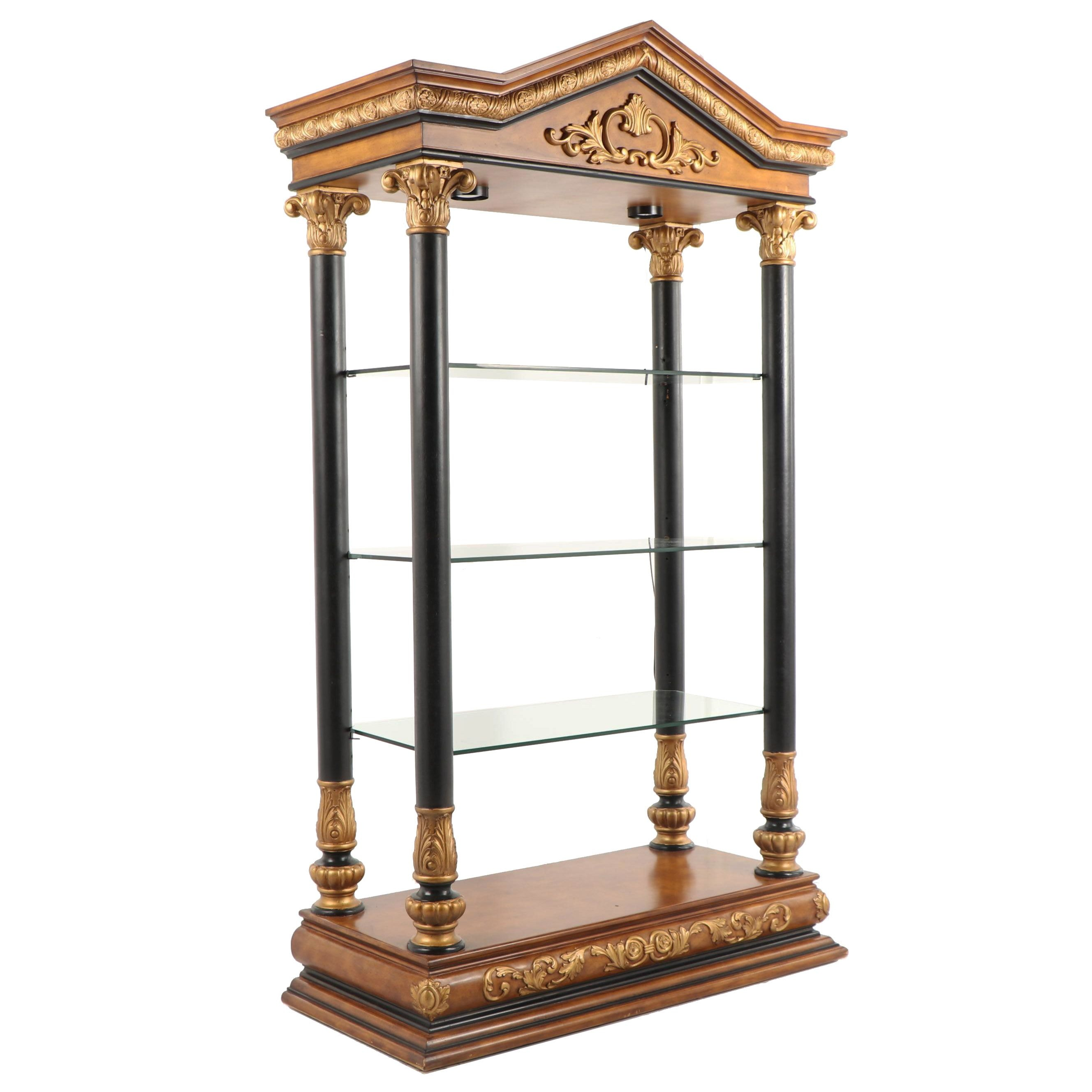 Neoclassical Style Illuminated Etagere, Late 20th Century