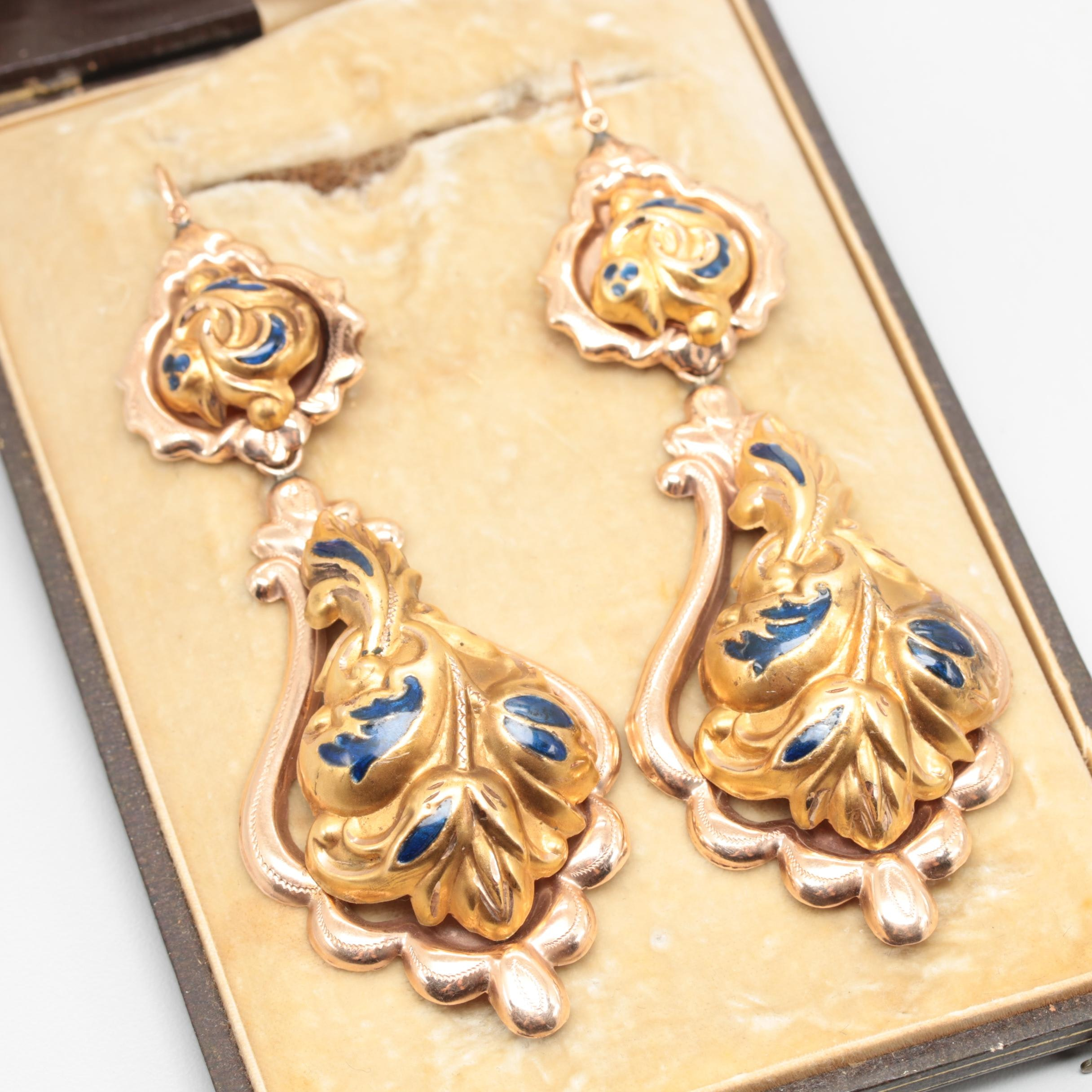 Victorian Style 12K Yellow and Rose Gold Enamel Earrings