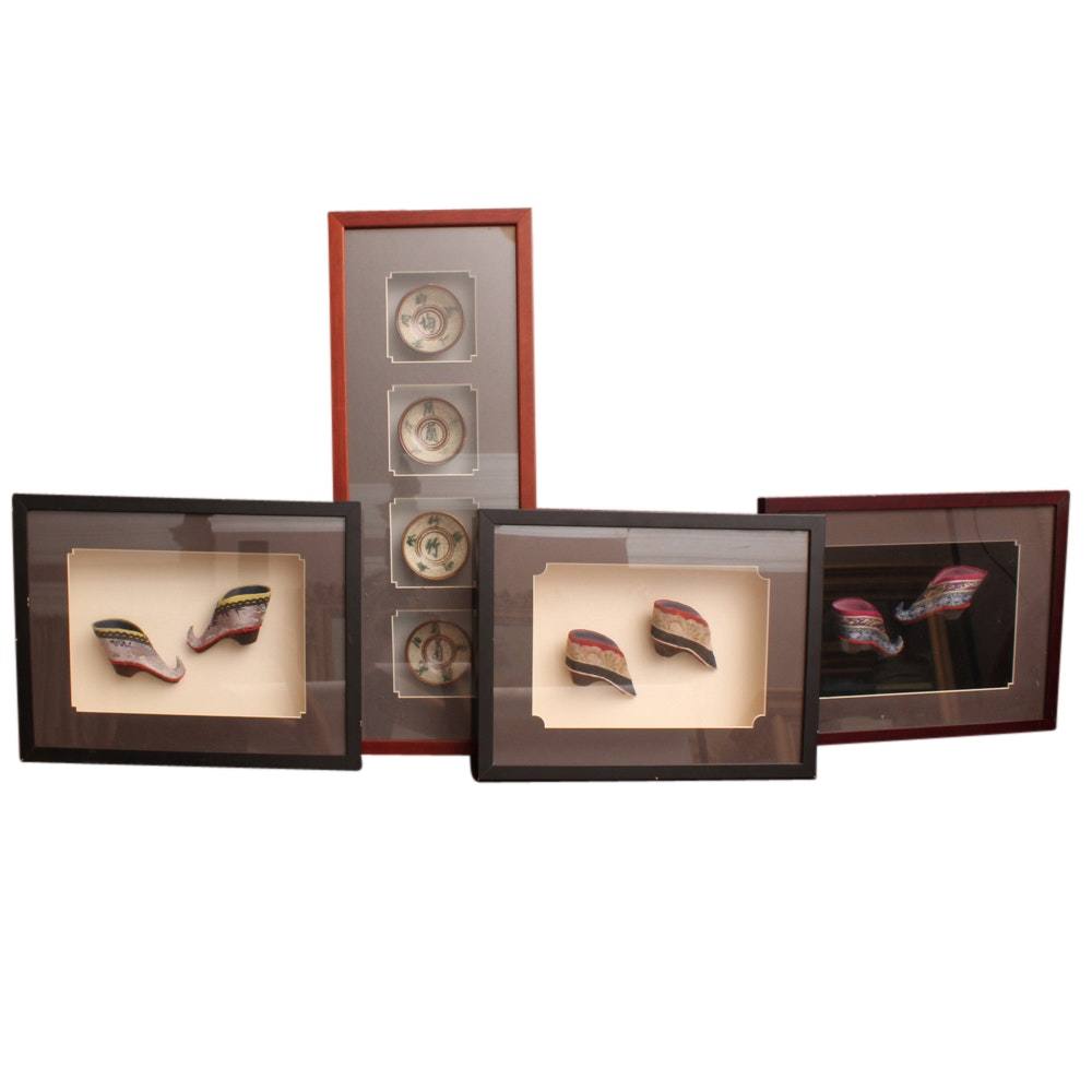 Four Shadow Boxes Featuring Chinese Shoes and Rice Bowls