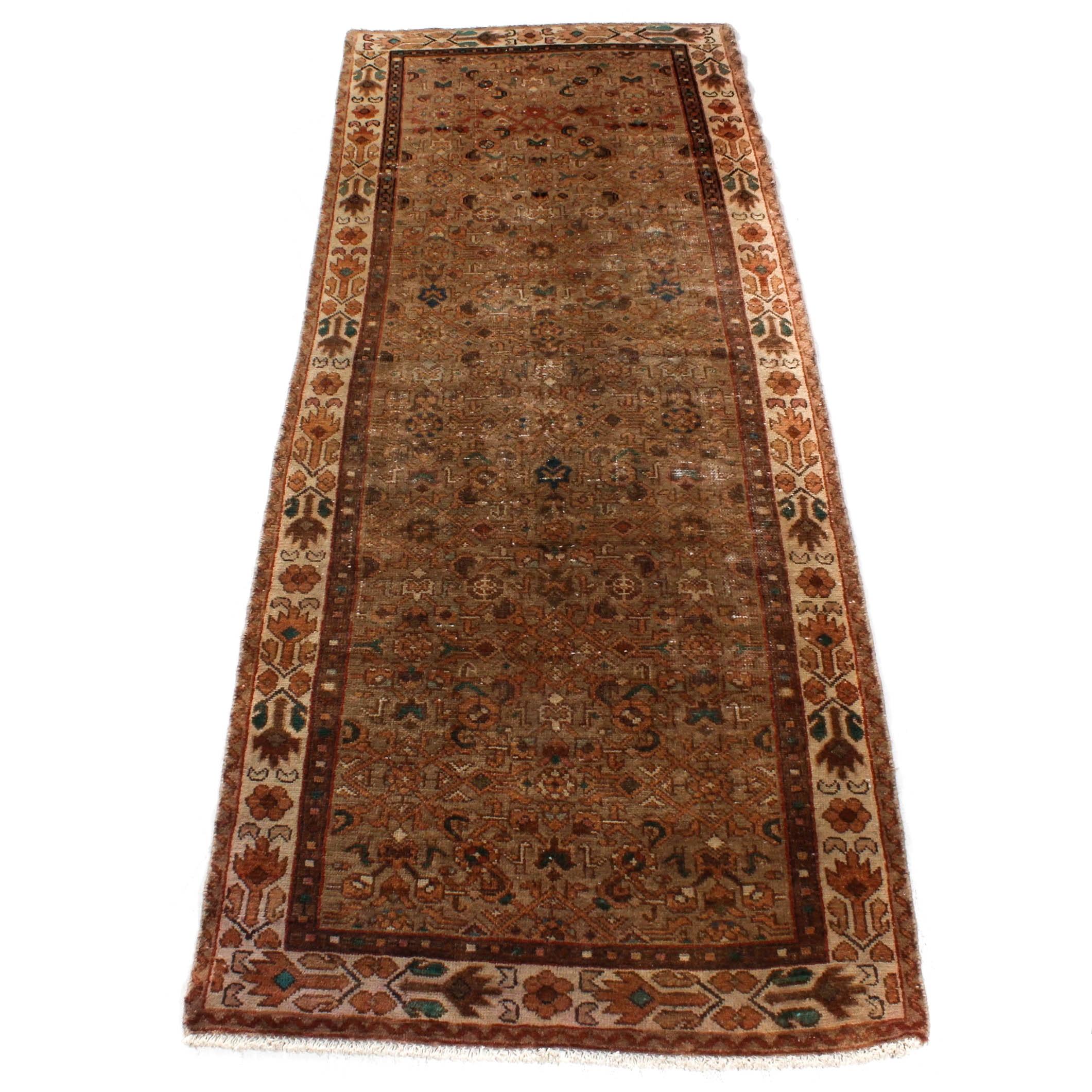 Vintage Hand-Knotted Persian Lilihan Sarouk Long Rug