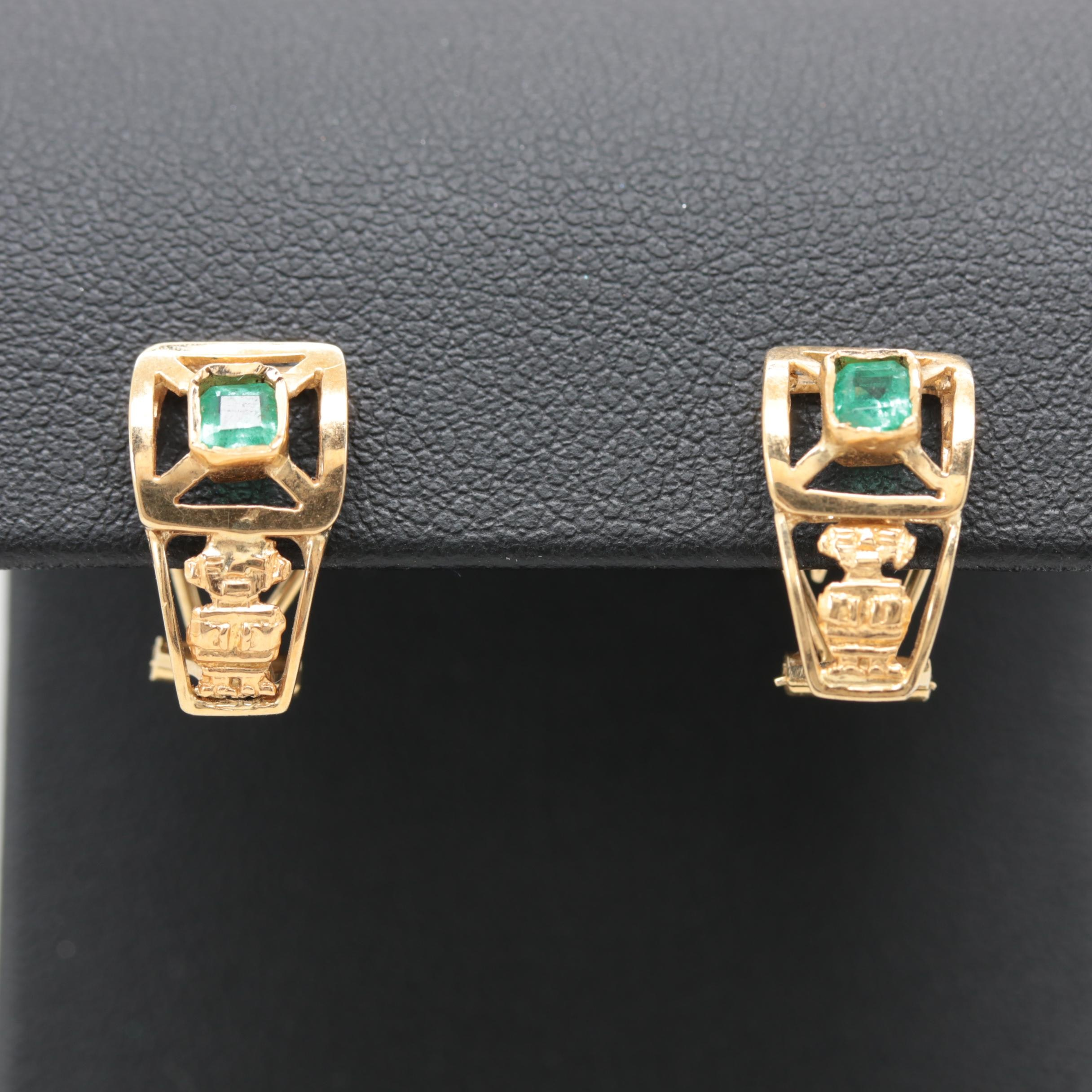 14K Yellow Gold and Gold Tone Emerald Earrings