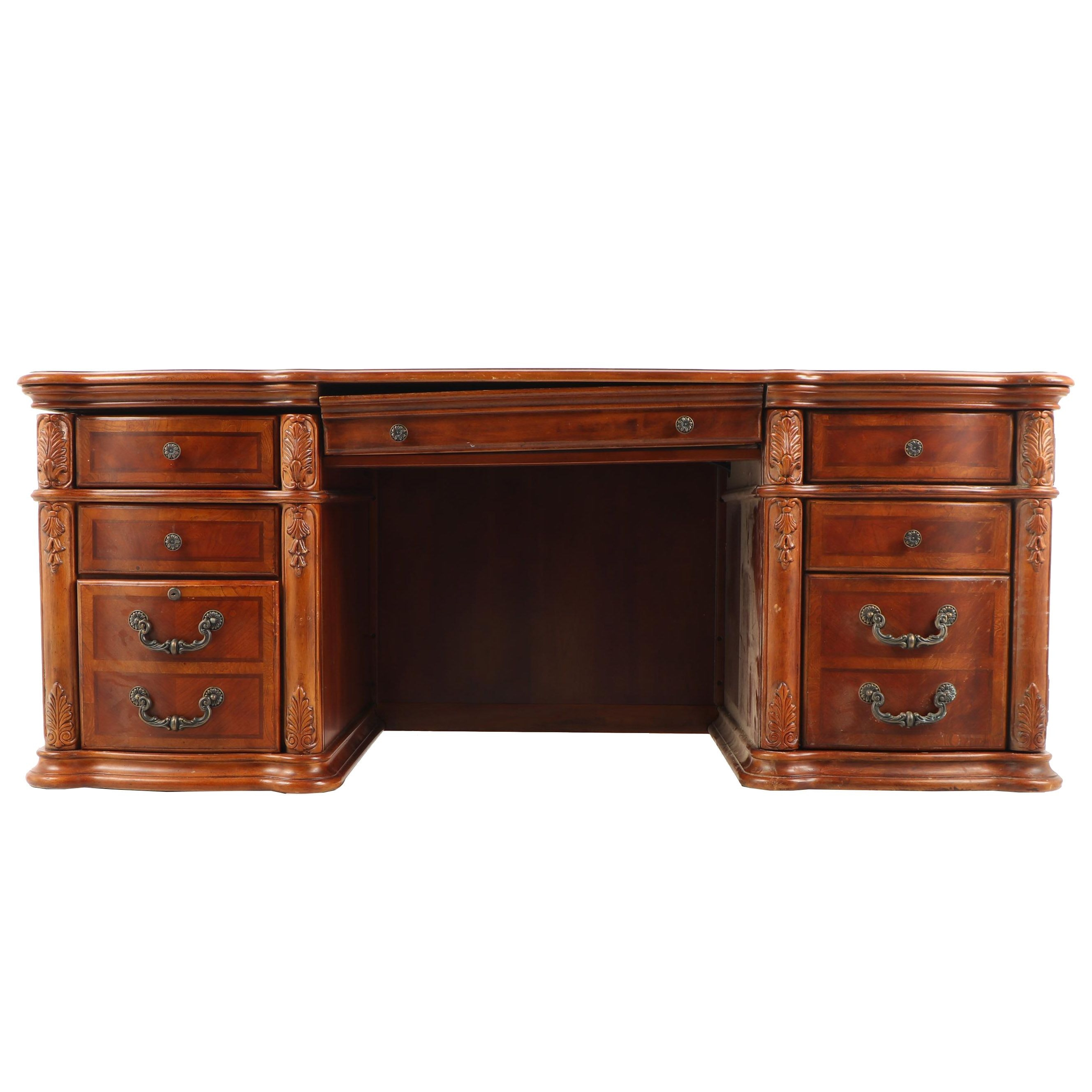 Federal Style Book Match Veneer Executive Desk, Late 20th Century