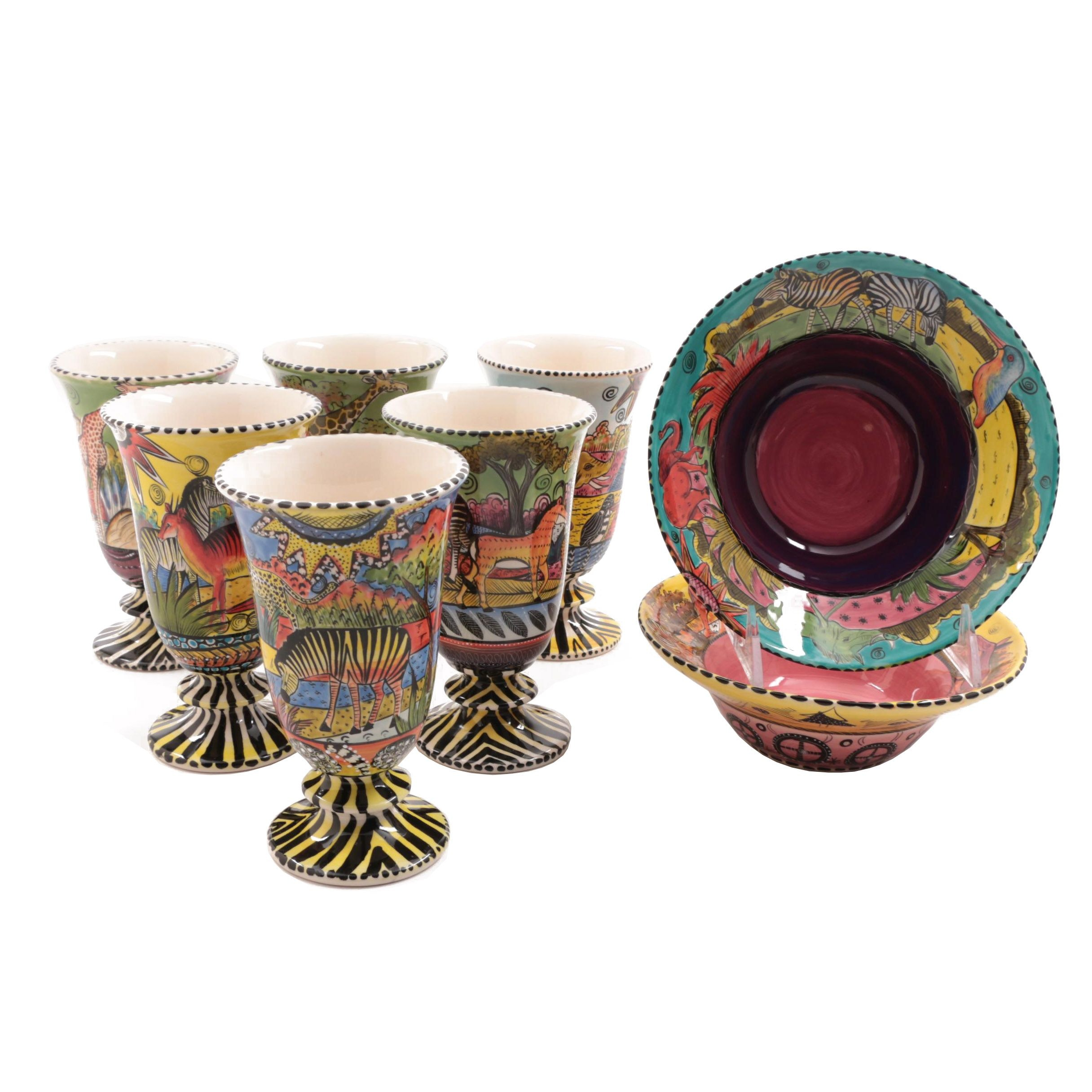 Penzo Zimbabwe Hand-Painted Pottery Goblets and Bowls