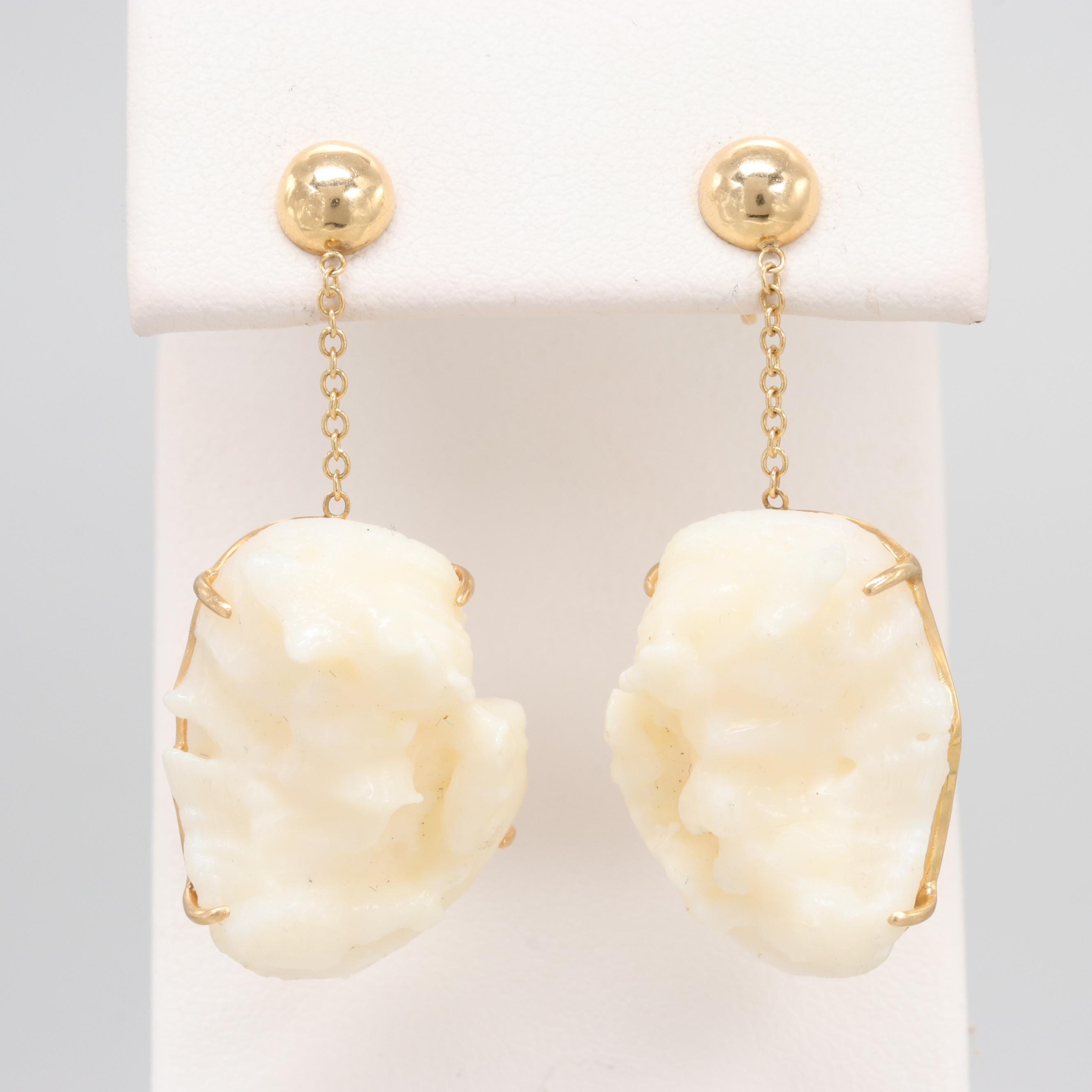 18K Yellow Gold Coral Post Earrings