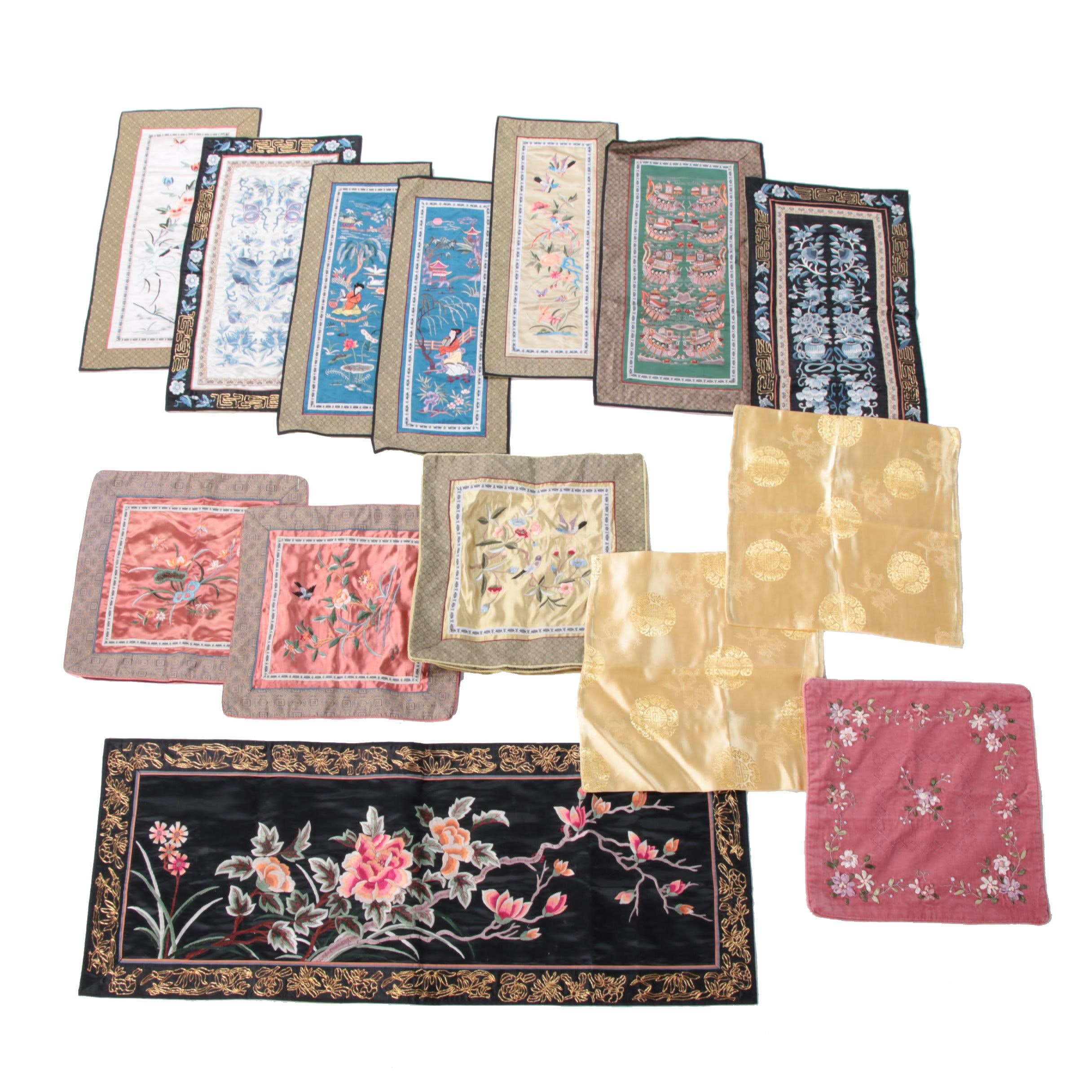 Chinese Embroidered Silk Panels and Pillow Covers
