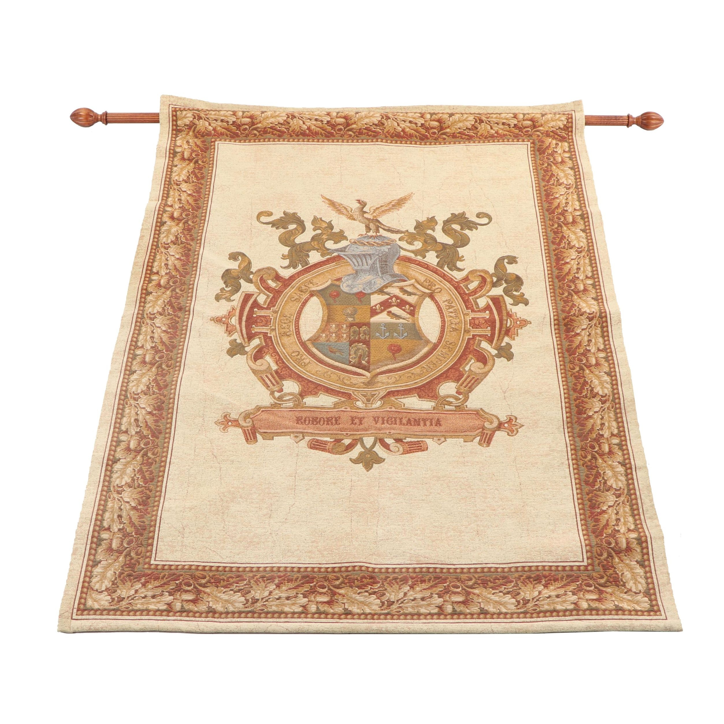 "Beldeco Collection Woven Wall Hanging of Coat of Arms ""Robore Et Vigilantia"""