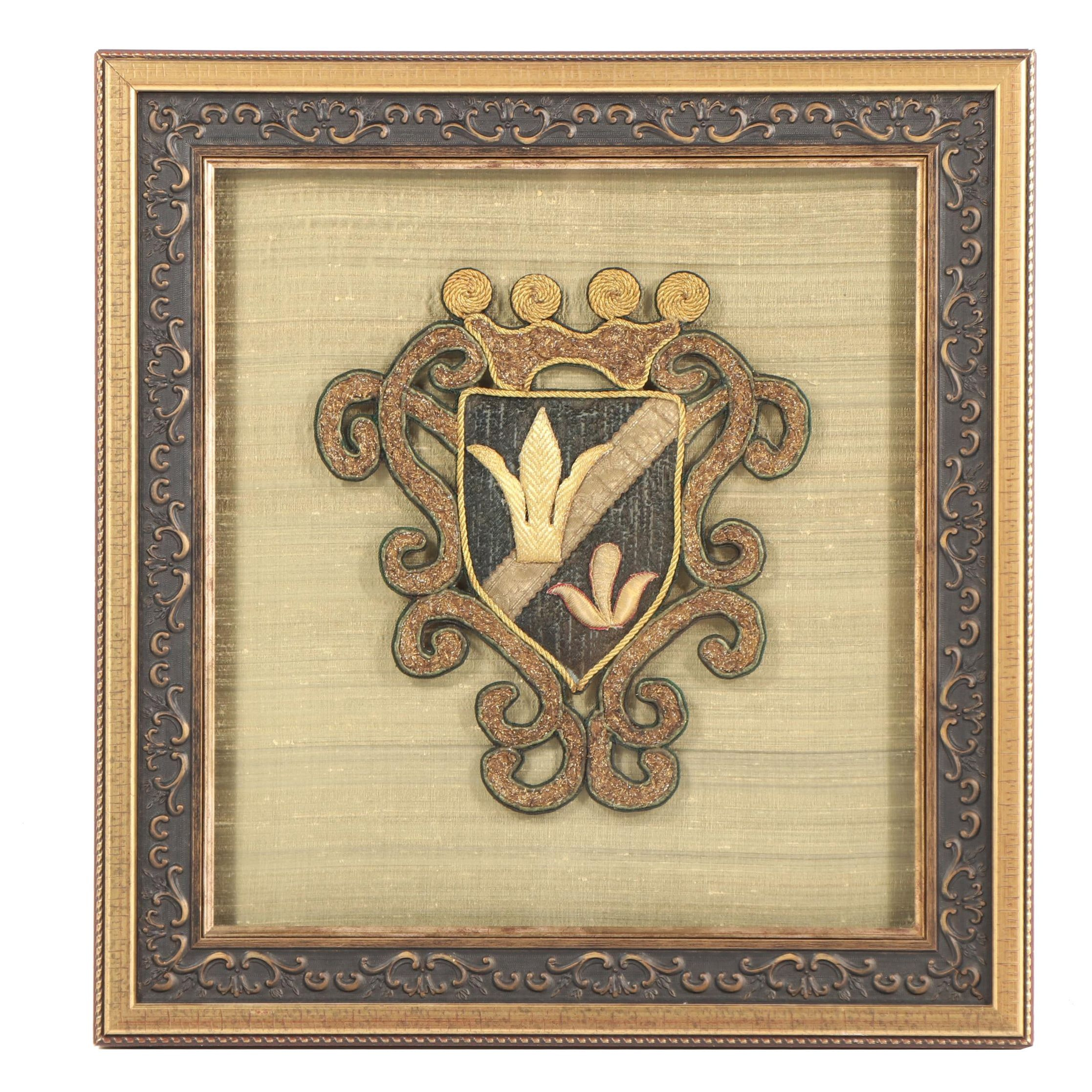 Coat of Arms Textile in Shadowbox Frame