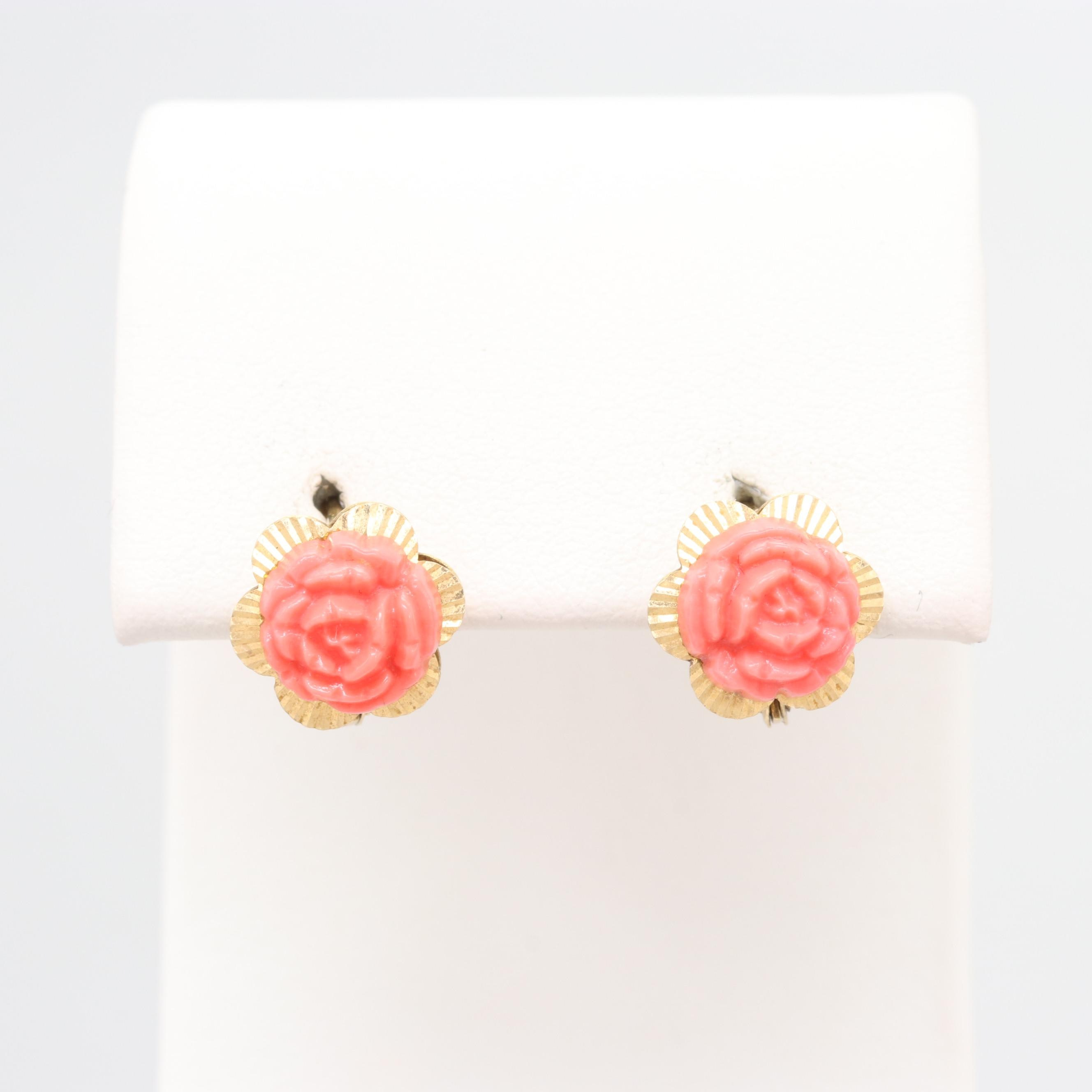 18K Yellow Gold and Metal Coral Earrings