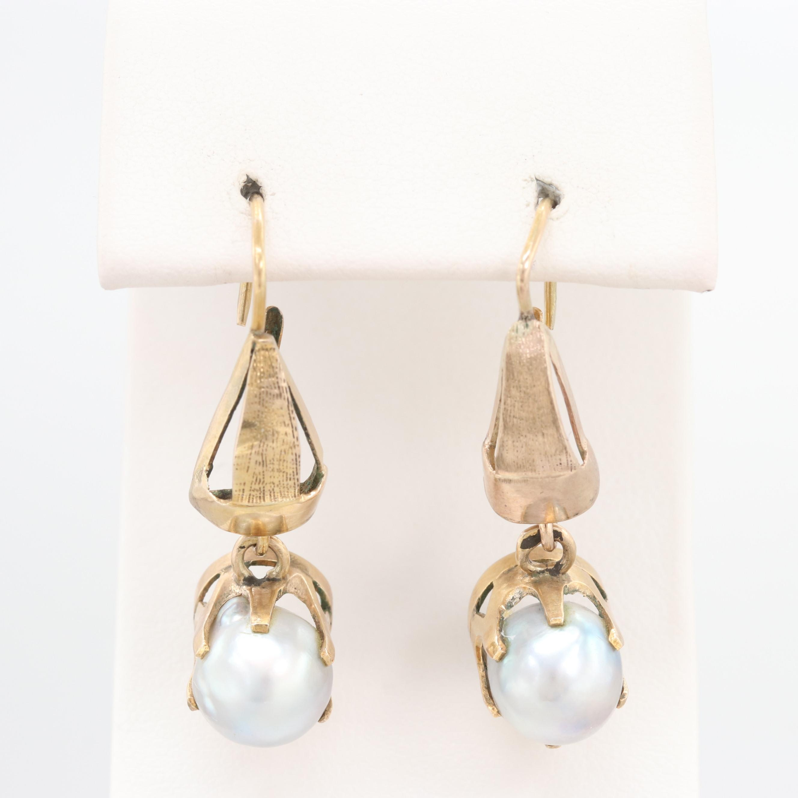 10K and 14K Yellow Gold Cultured Pearl Earrings