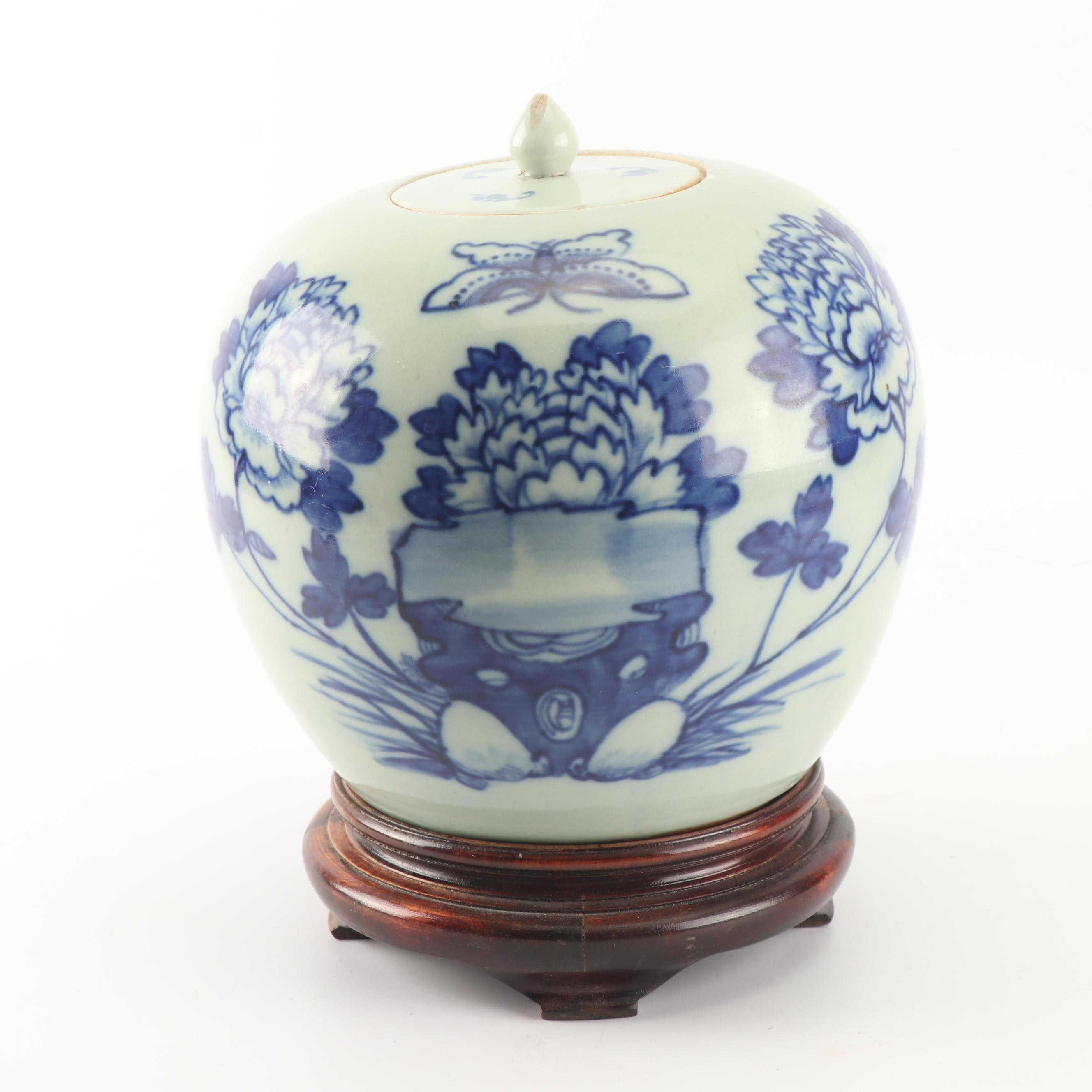 Antique Chinese Ceramic Lidded Jar and Wood Stand