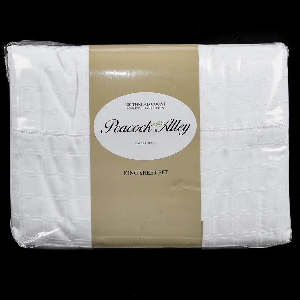 "Peacock Alley King-Size Egyptian Cotton ""Quadrille"" Sheet Set"