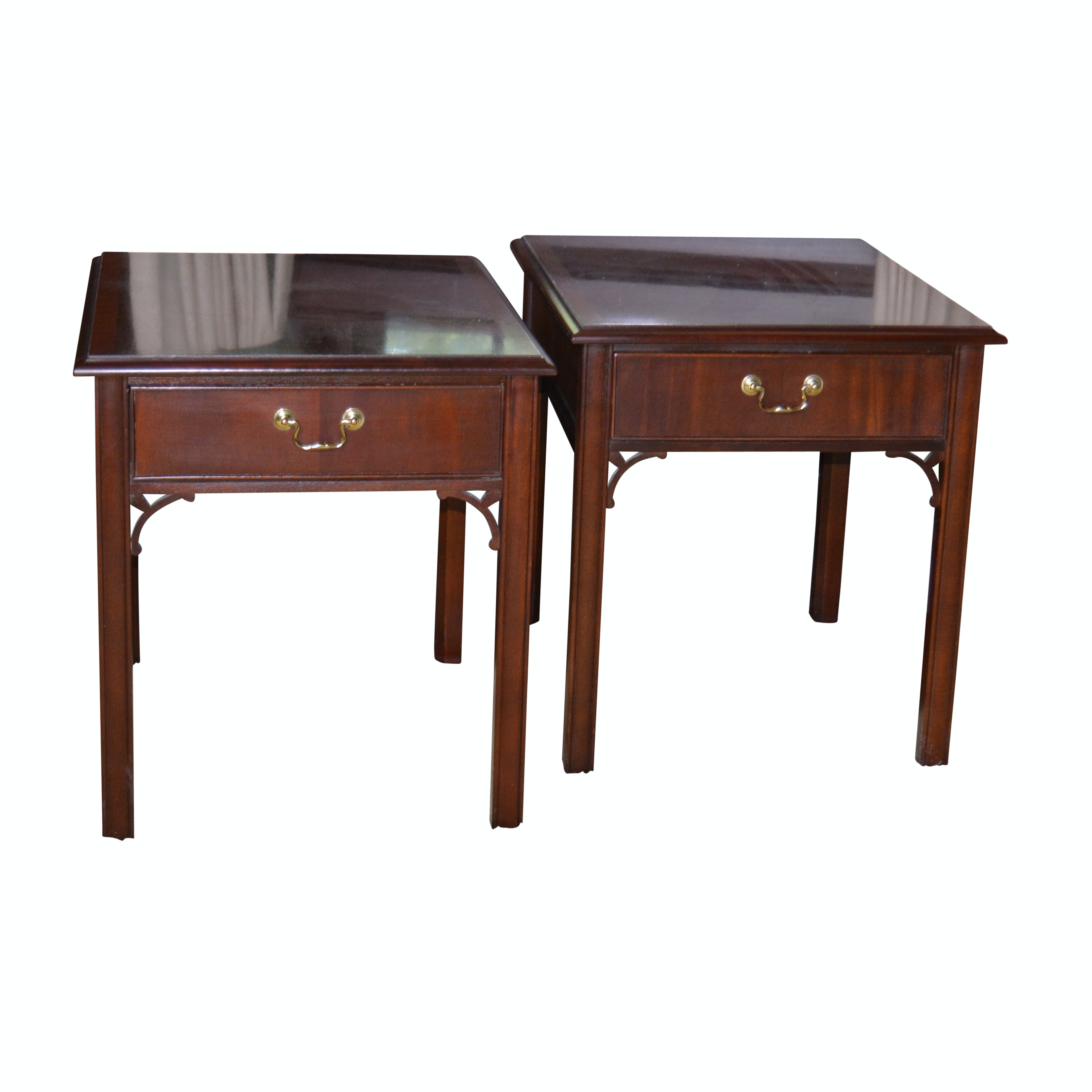Chinese Chippendale Style Mahogany End Tables by Thomasville, 20th Century