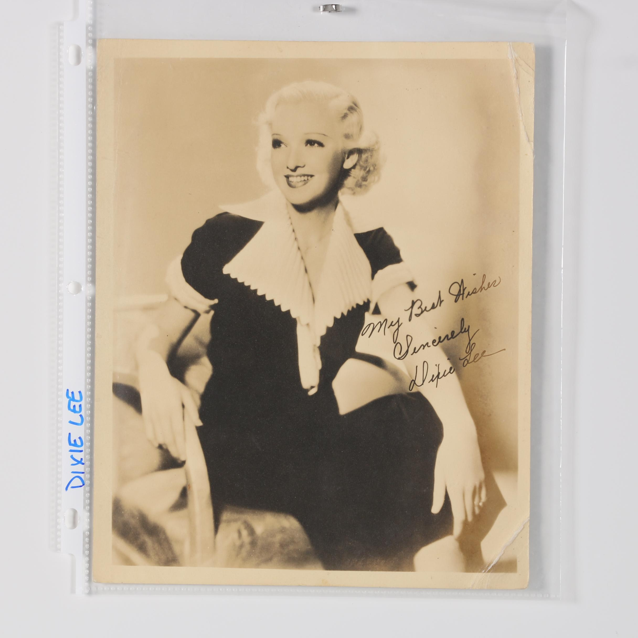 Gelatin-Silver Photograph Autographed by Dixie Lee