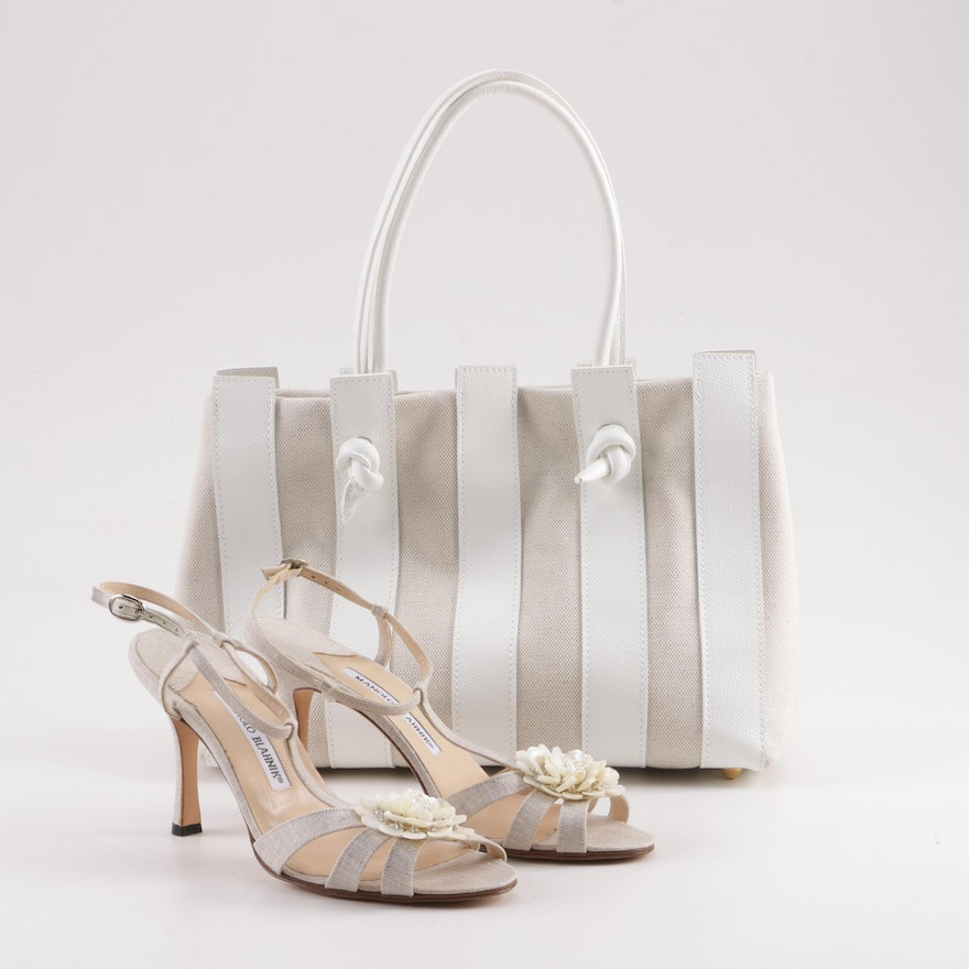 45188d4c5 Manolo Blahnik Floral Shell Sandals and Stefano Bravo Canvas and Leather  Bag   EBTH