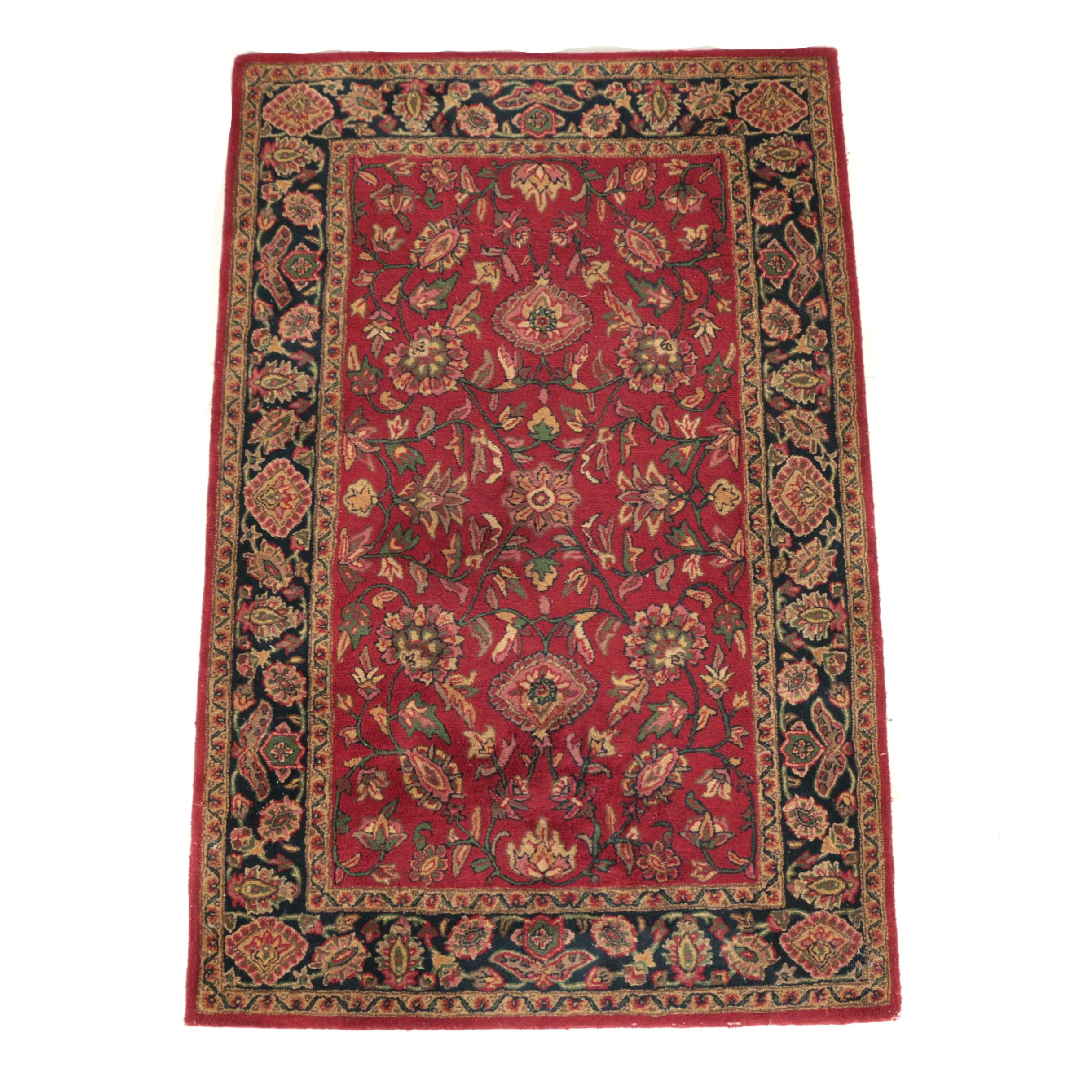 "Hand-Tufted Indian ""Palace Kashan"" Wool Area Rug"