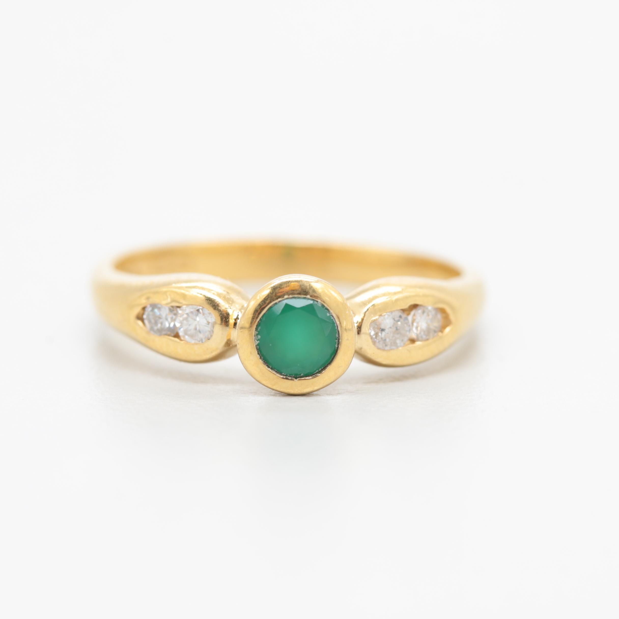 18K Yellow Gold Chalcedony and Diamond Ring