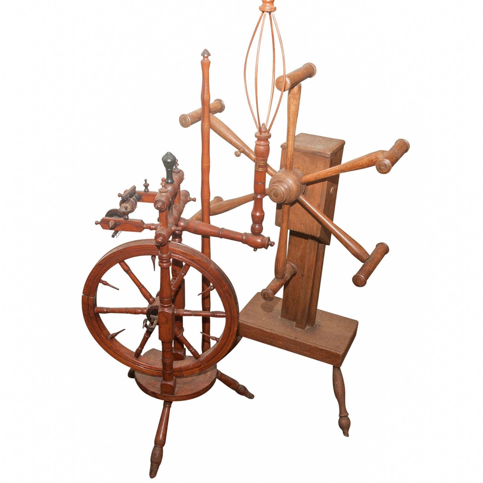 Antique Spinning Wheel and Skein Winder