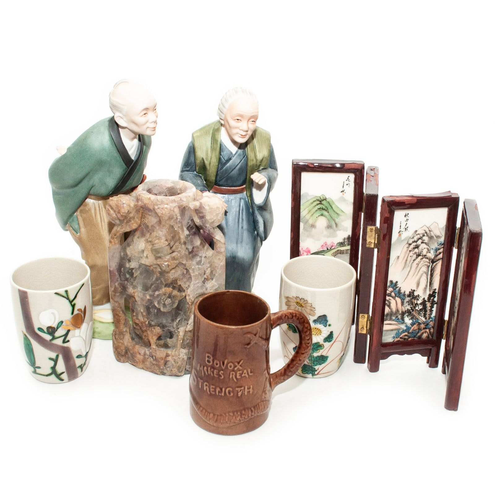 Japanese and Chinese Figurines and Miniature Folding Screen
