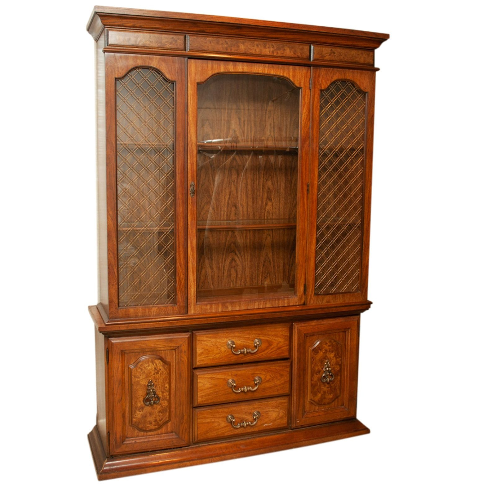 Walnut China Cabinet, Mid to Late 20th Century