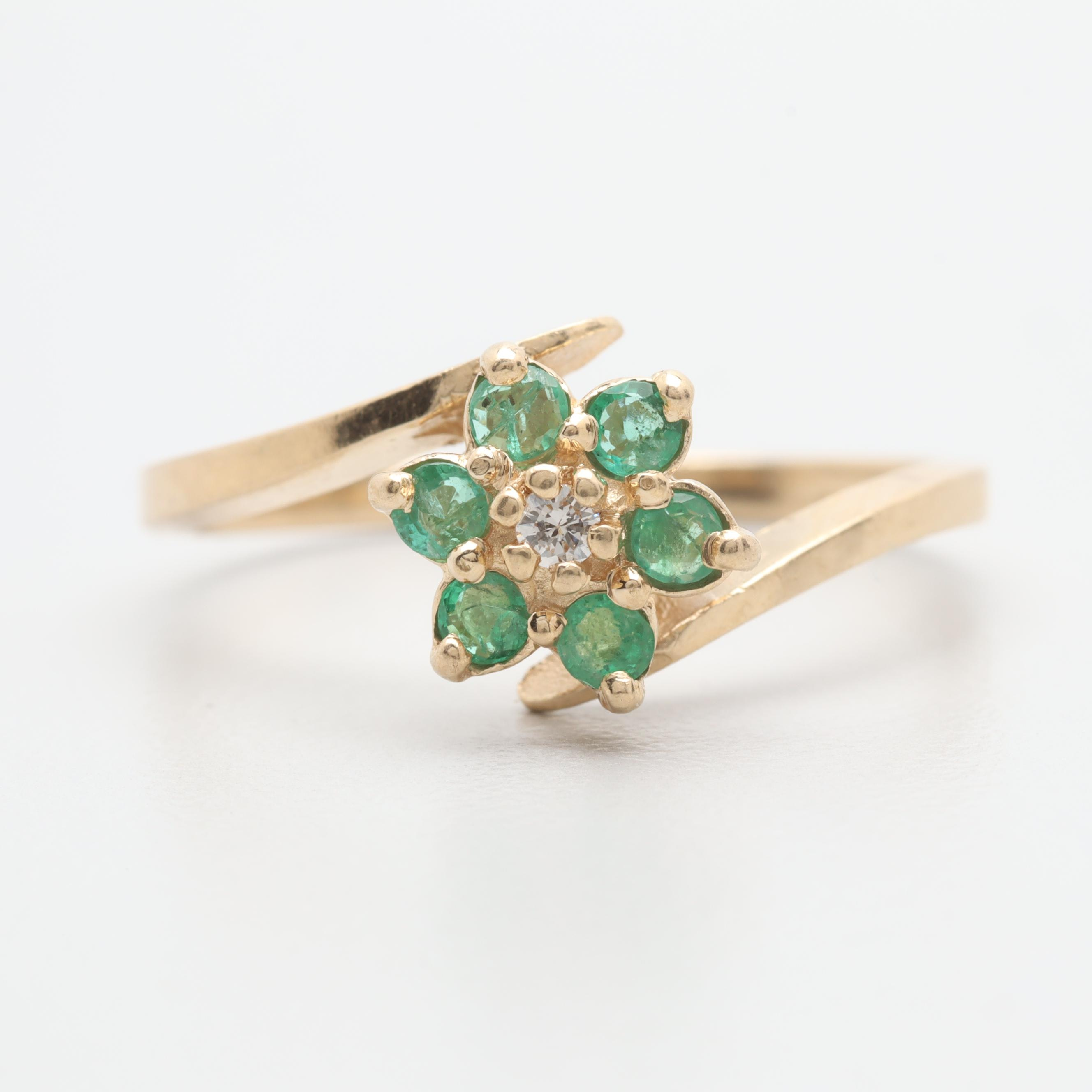 14K Yellow Gold Diamond and Emerald Floral Bypass Ring