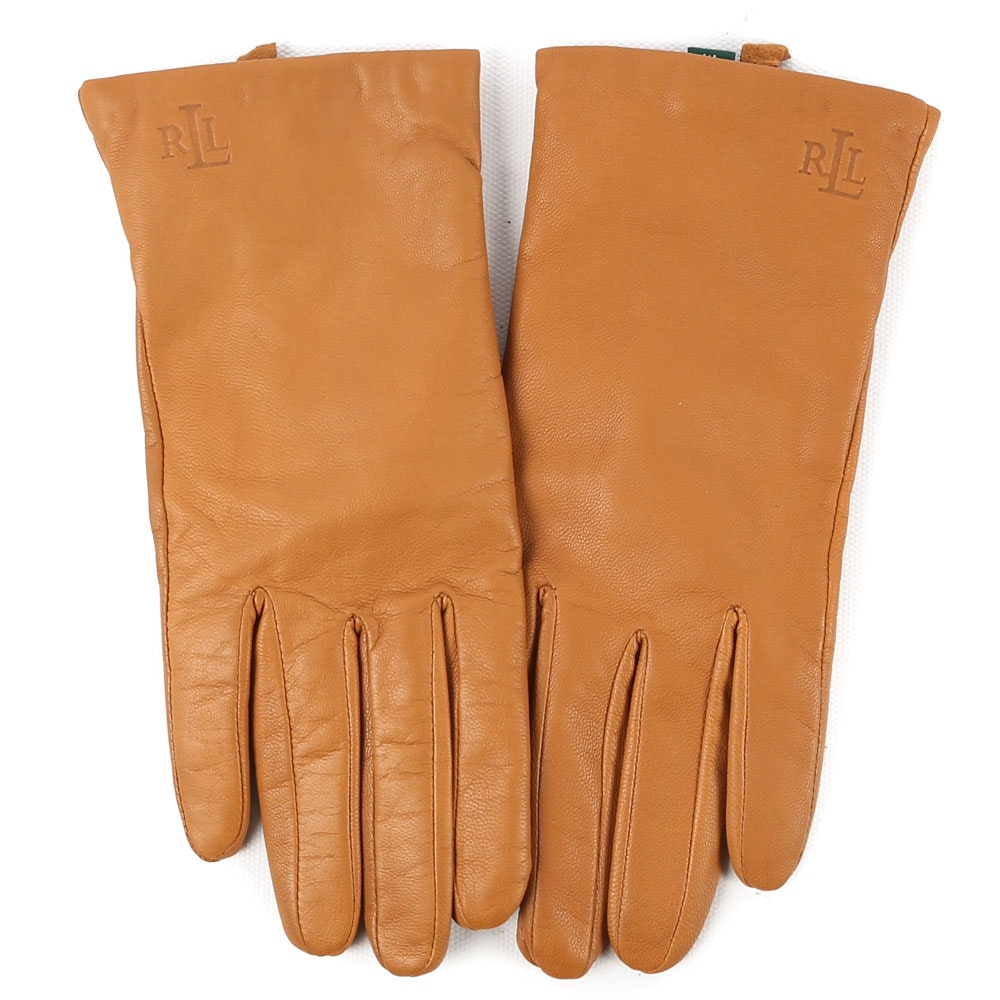 Women's Ralph Lauren Mustard Yellow Leather and Cashmere Gloves