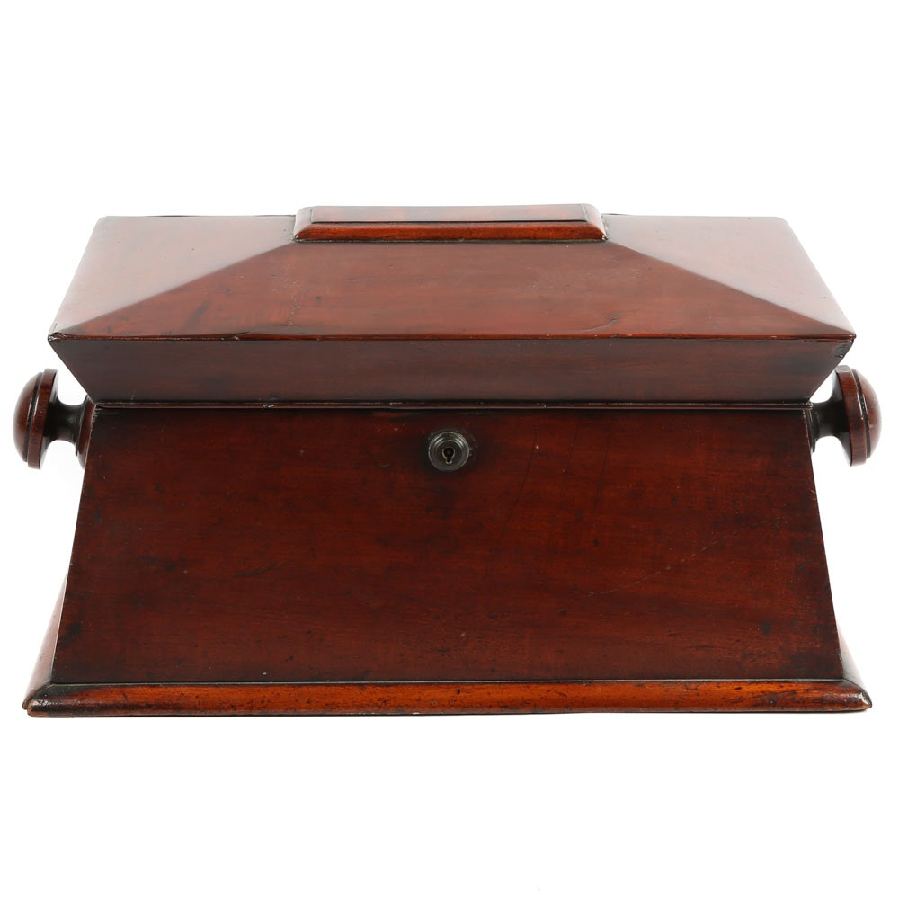 William IV Sarchophagus Form Mahogany Tea Caddy