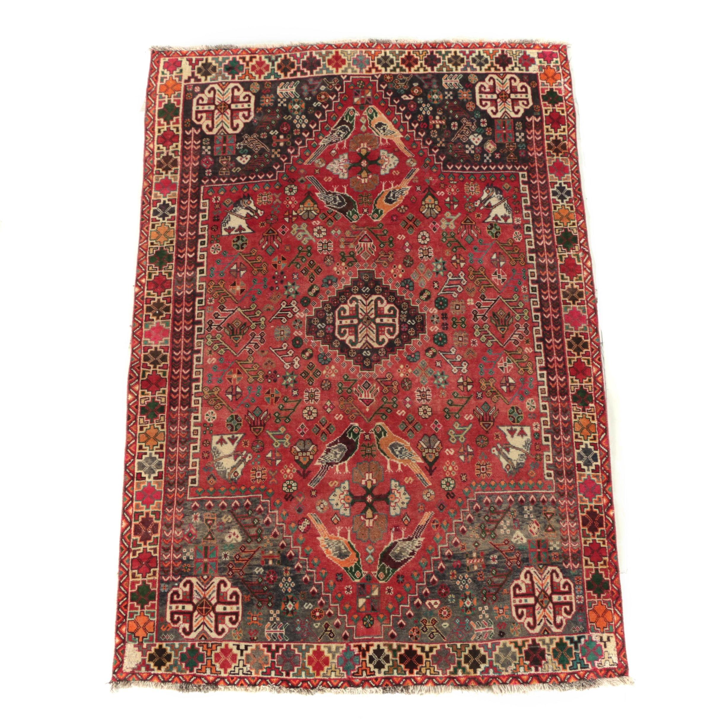 Hand-Knotted Persian Qashqai Wool Rug