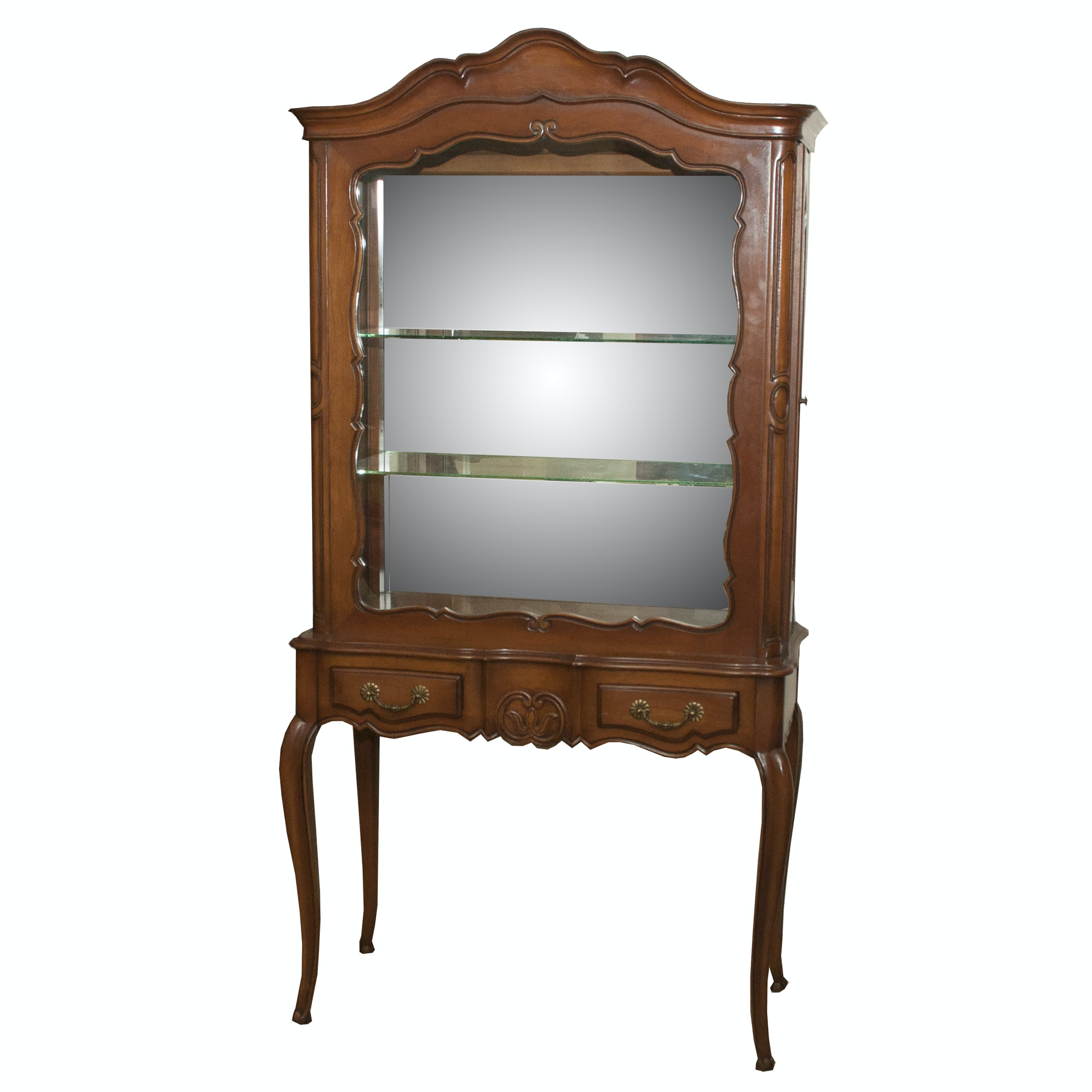 Louis XVI Style Fruitwood Display Cabinet, Late 20th Century