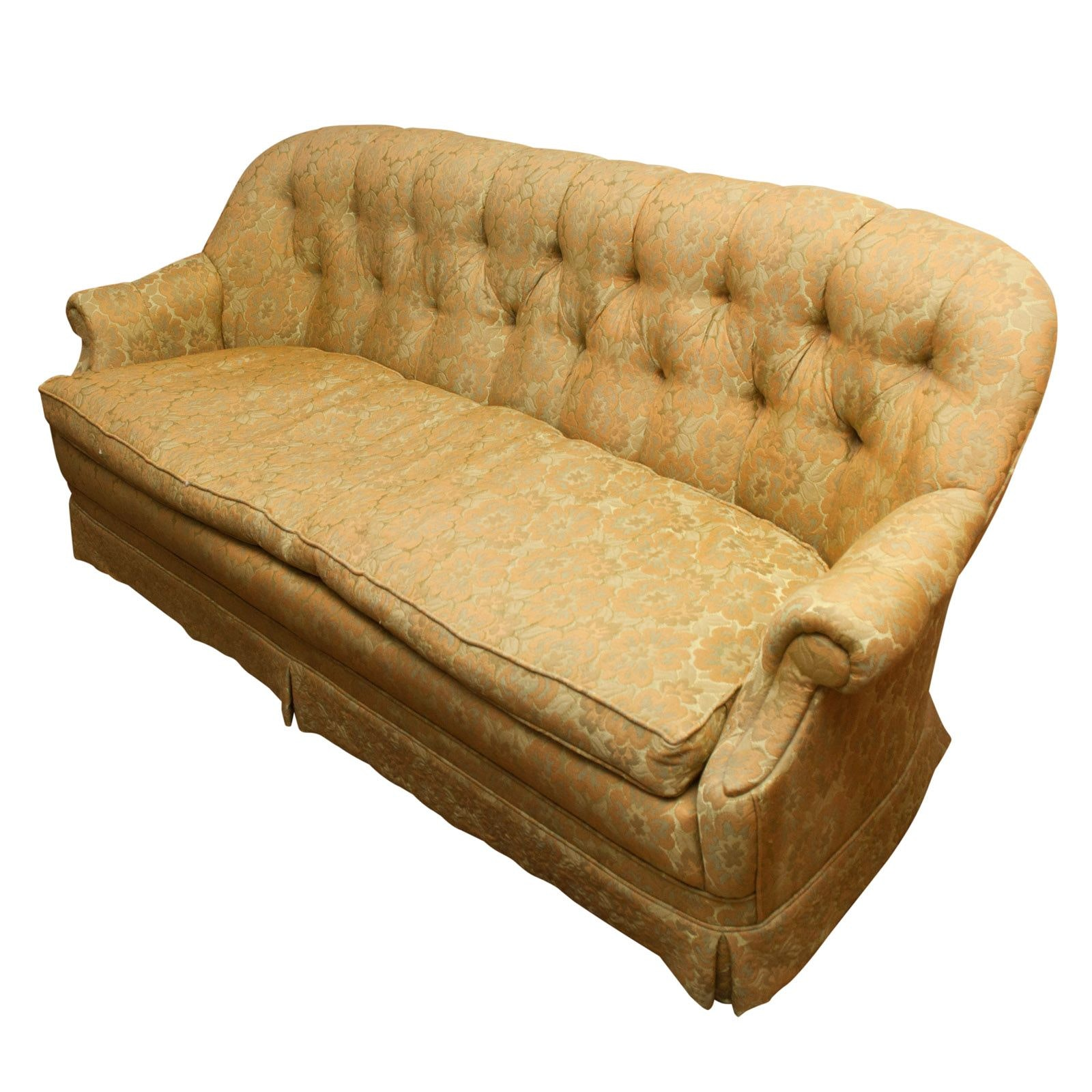 Golden Yellow Floral Upholstered Sofa