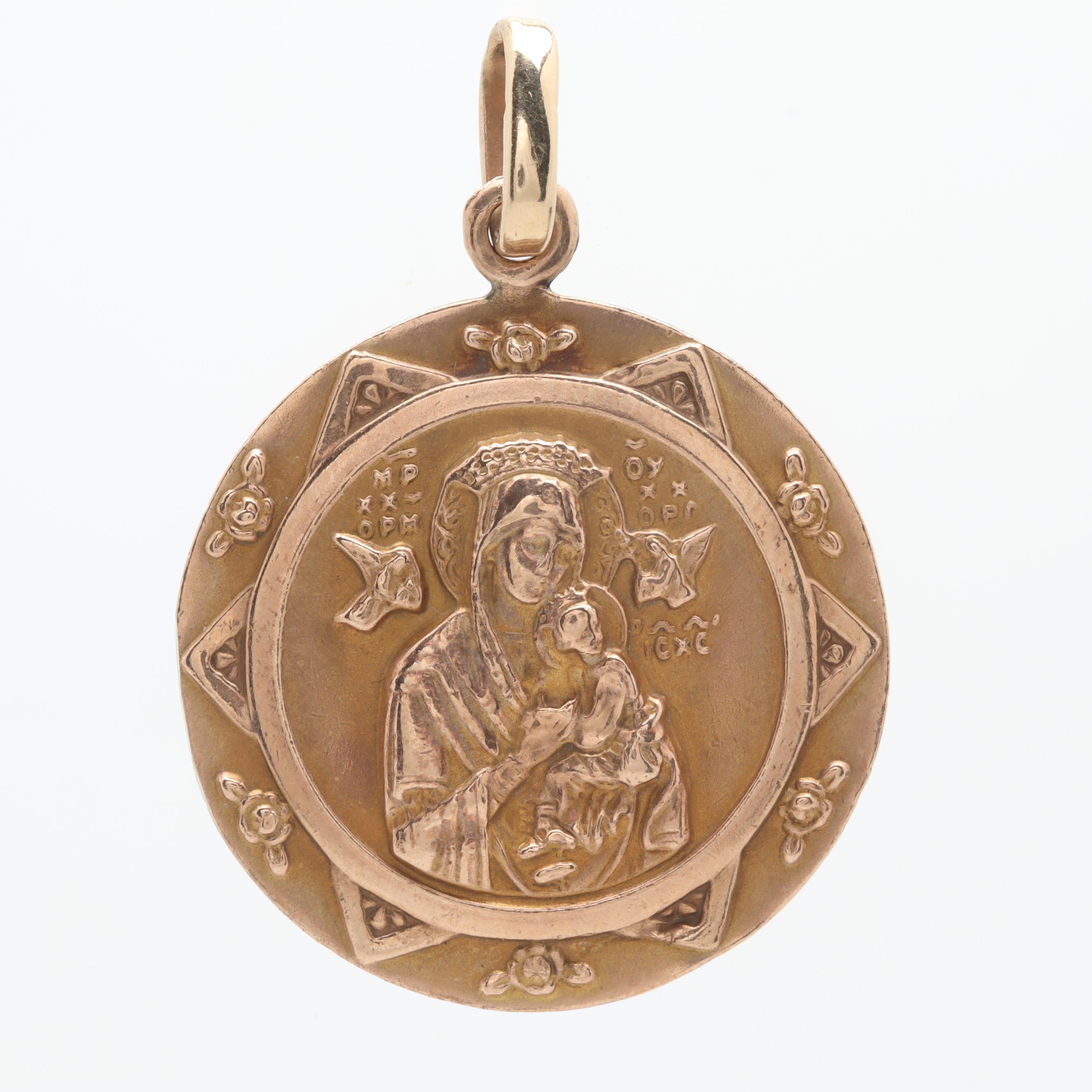 10K Yellow Gold Religious Medal Pendant