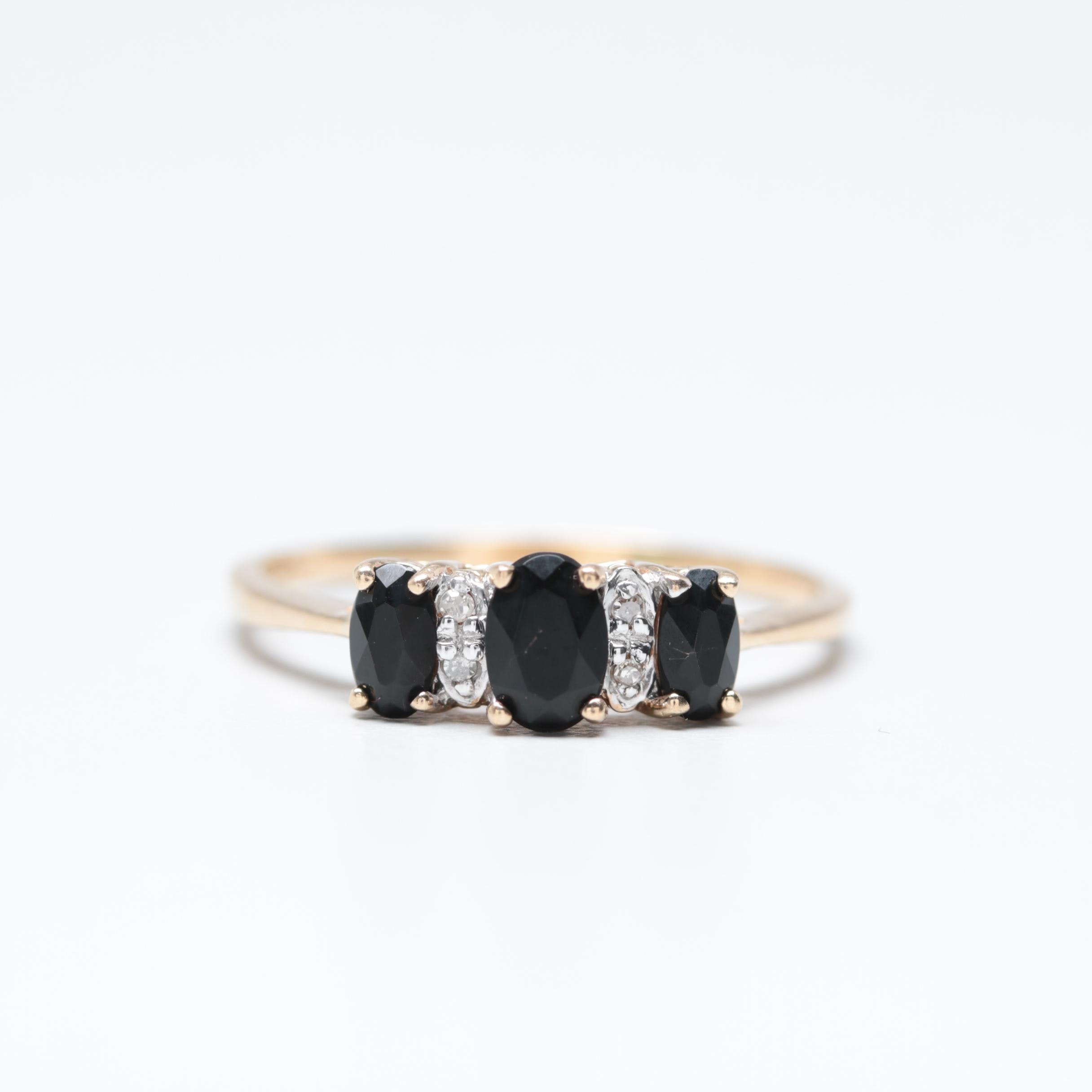 10K Yellow Gold Black Cubic Zirconia and Diamond Ring