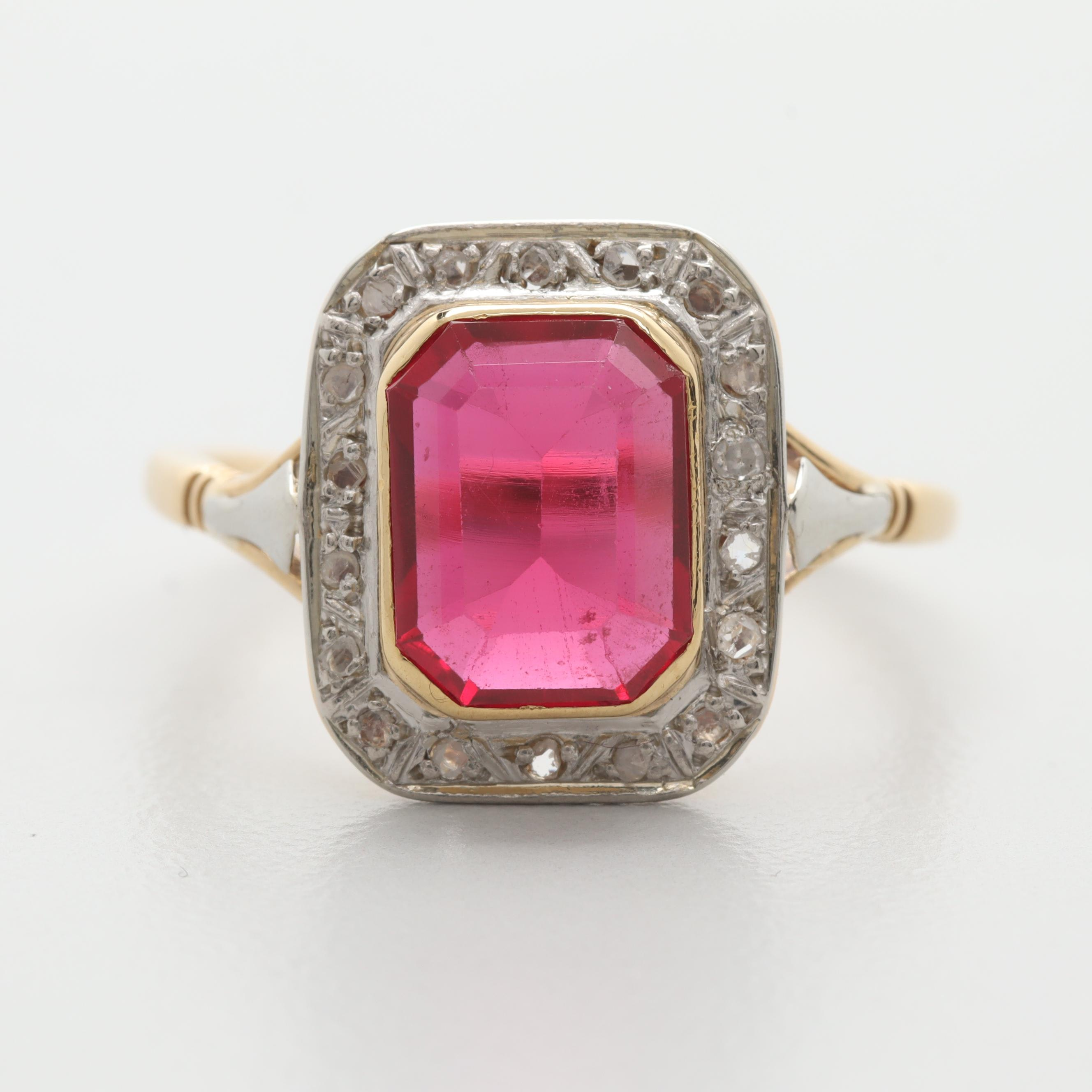18K Yellow Gold Synthetic Ruby and Diamond Ring with 10K White Gold Trim
