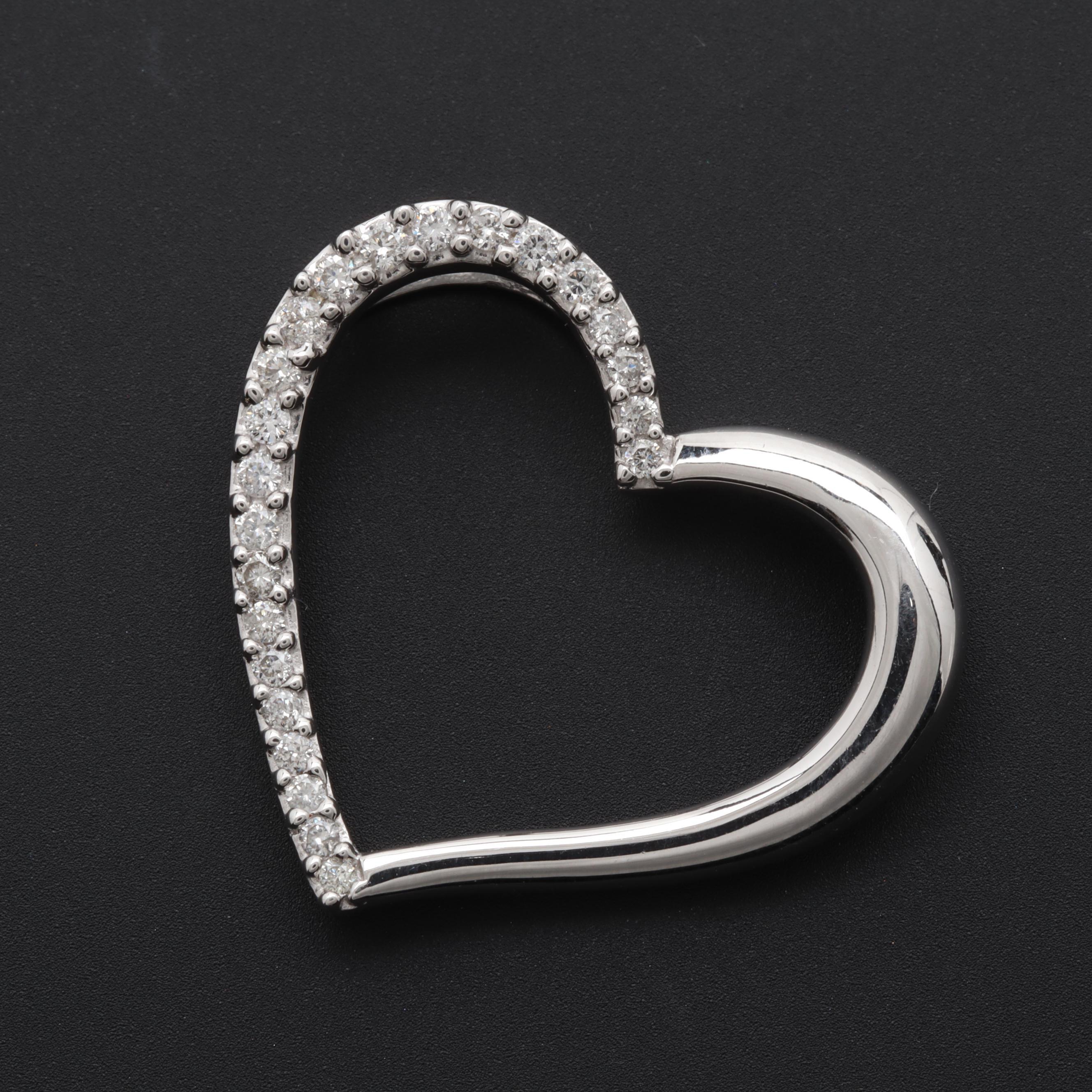 14K White Gold Diamond Heart Slide Pendant