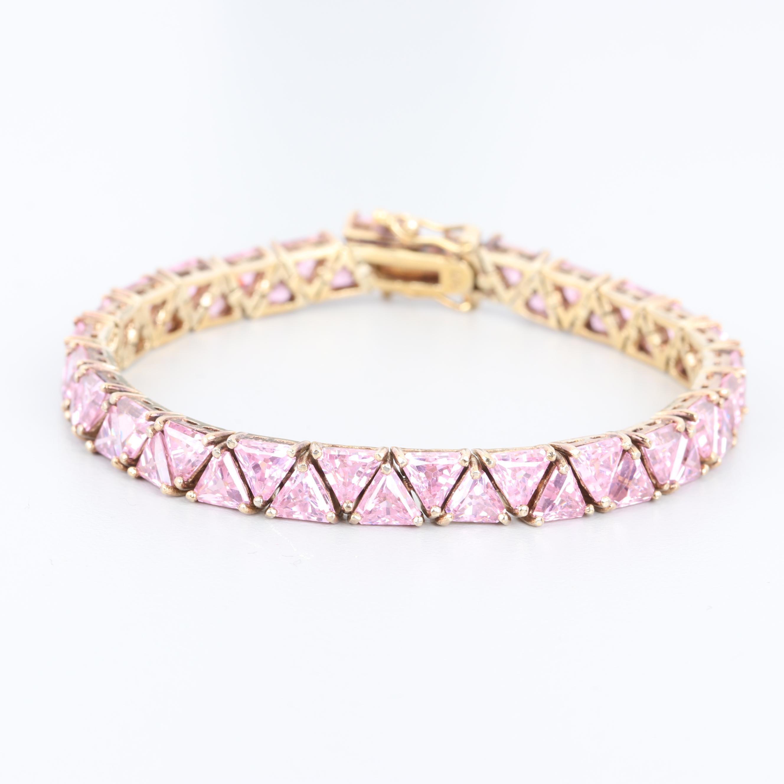 Gold Wash on Sterling Silver Pink Cubic Zirconia Bracelet