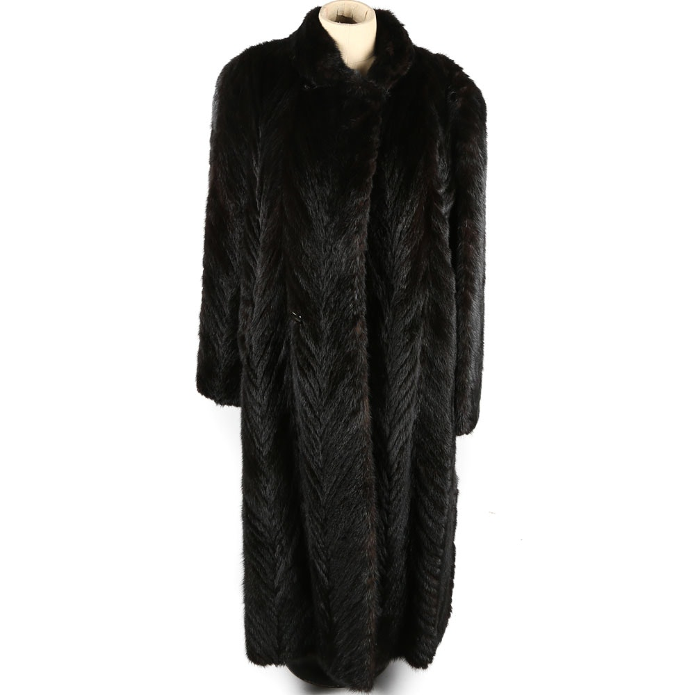 Women's Dark Mahogany Chevron Mink Full-Length Coat