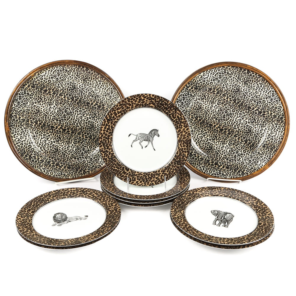 """Fitz and Floyd """"Serengeti"""" Porcelain Luncheon Plates"""