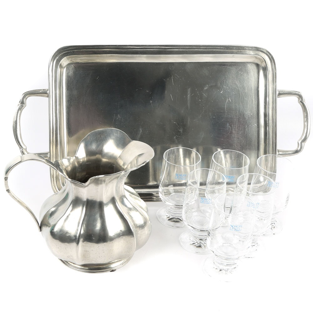Pewter Tray and Pitcher and Schott-Zwiesel Goblets