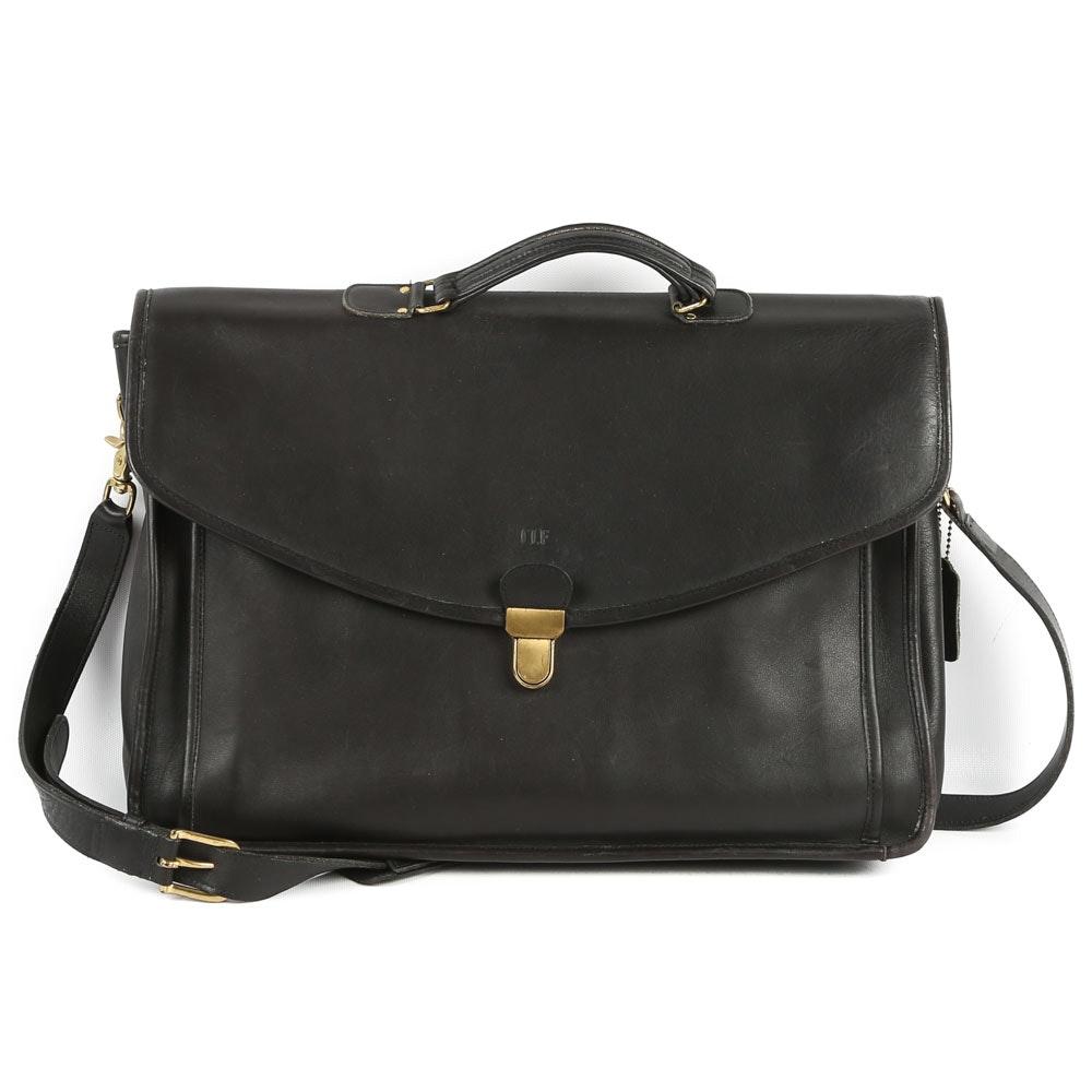 Coach Black Leather Briefcase Messenger Bag
