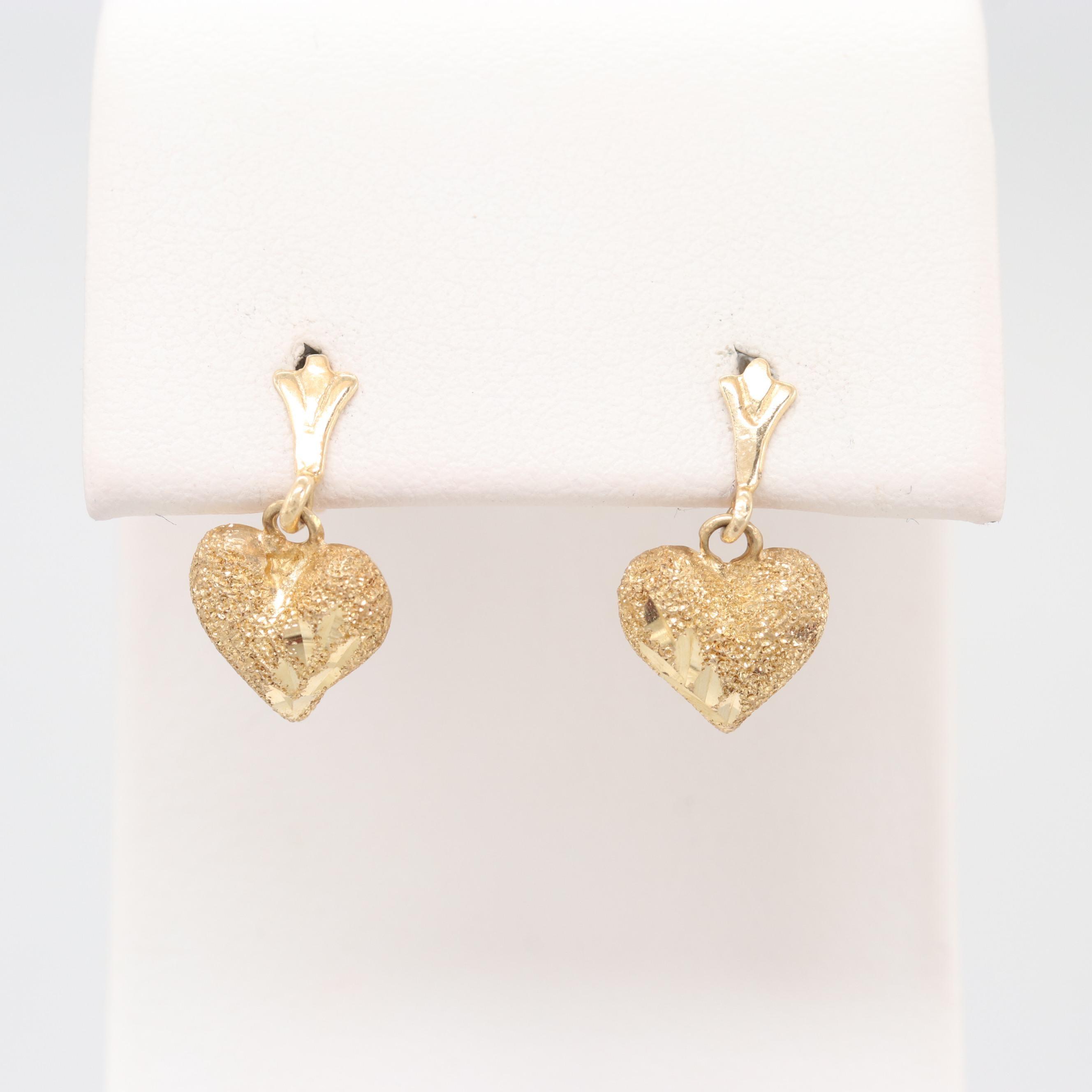 14K Yellow Gold Heart Dangle Earrings