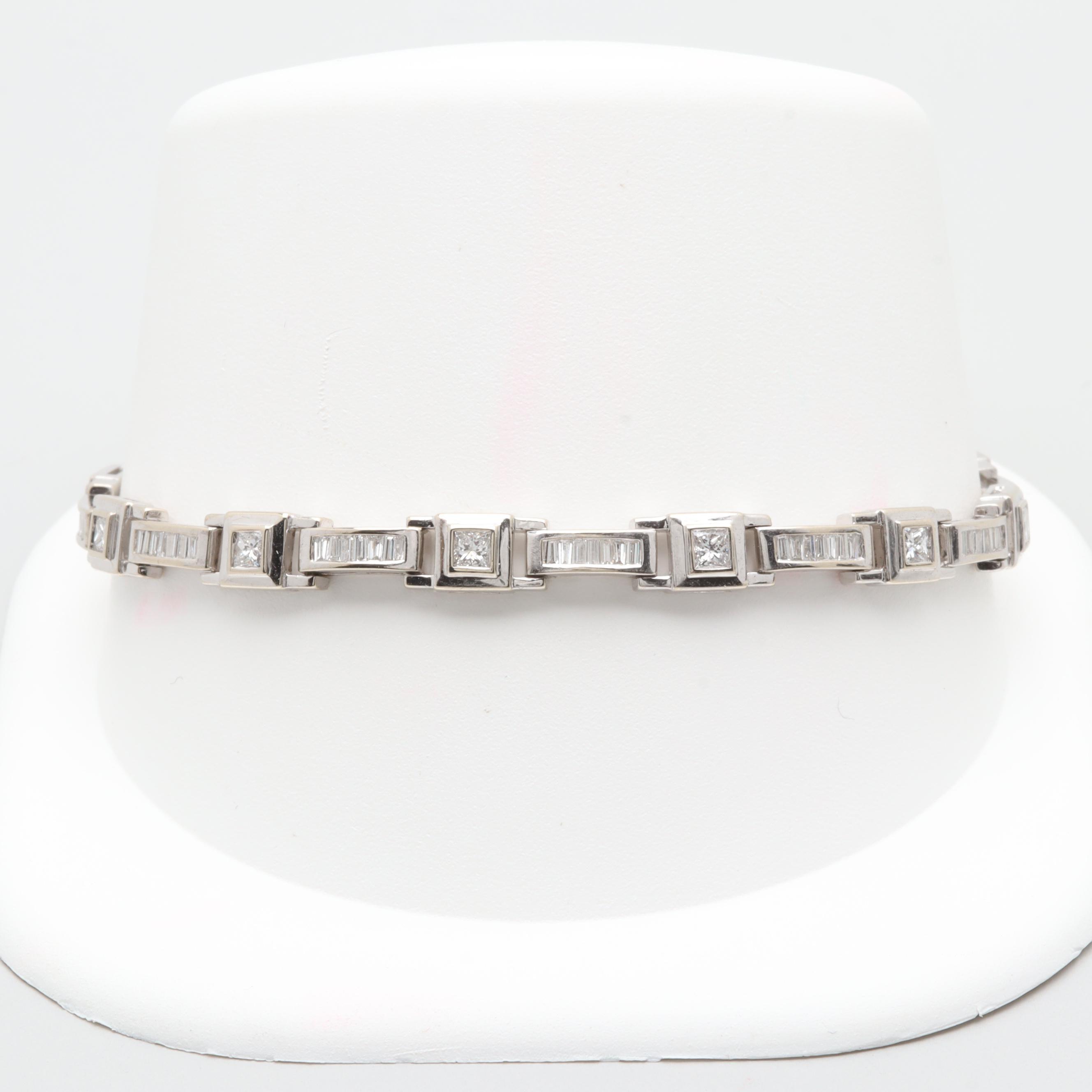 14K White Gold 2.53 CTW Diamond Bracelet