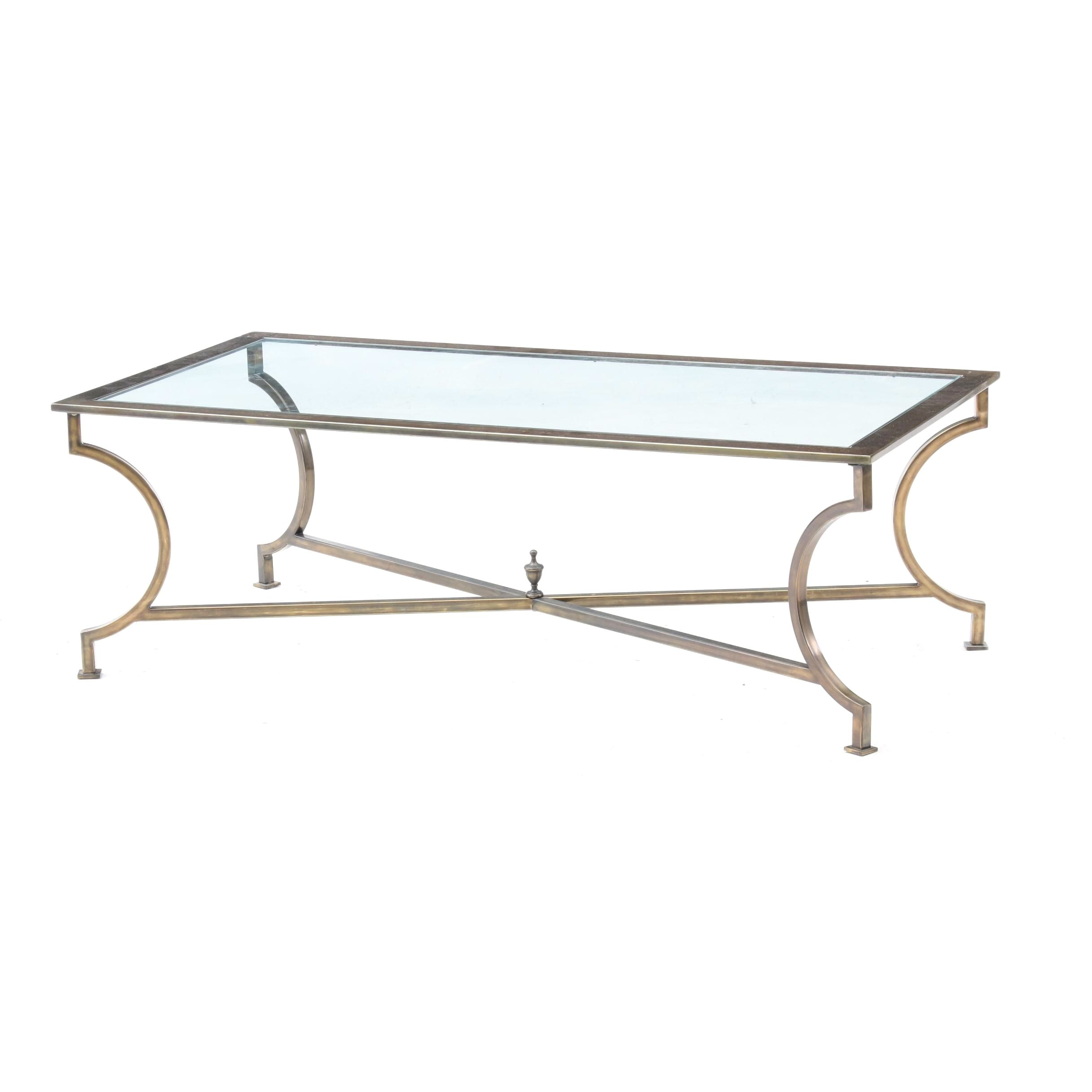 Labarge Style Brass Coffee Table with Glass Top